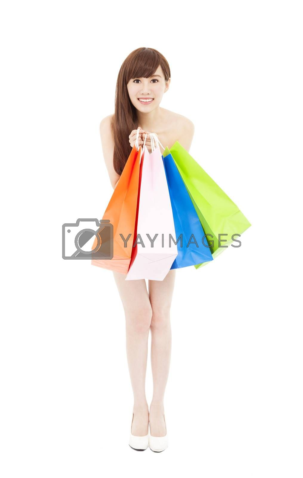 shopping woman holding many shopping bags excited