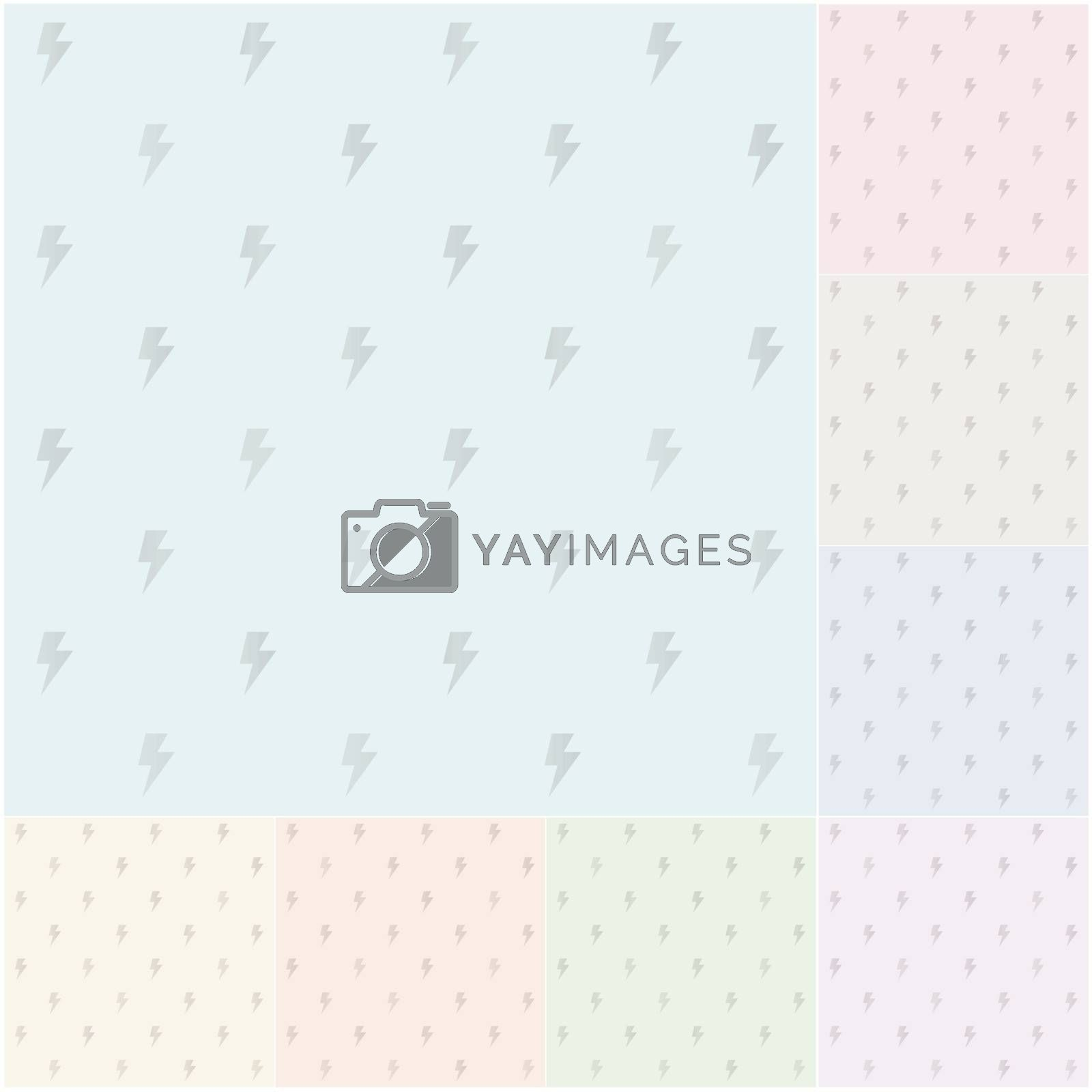 seamless pastel thunder pattern with silvery gradient