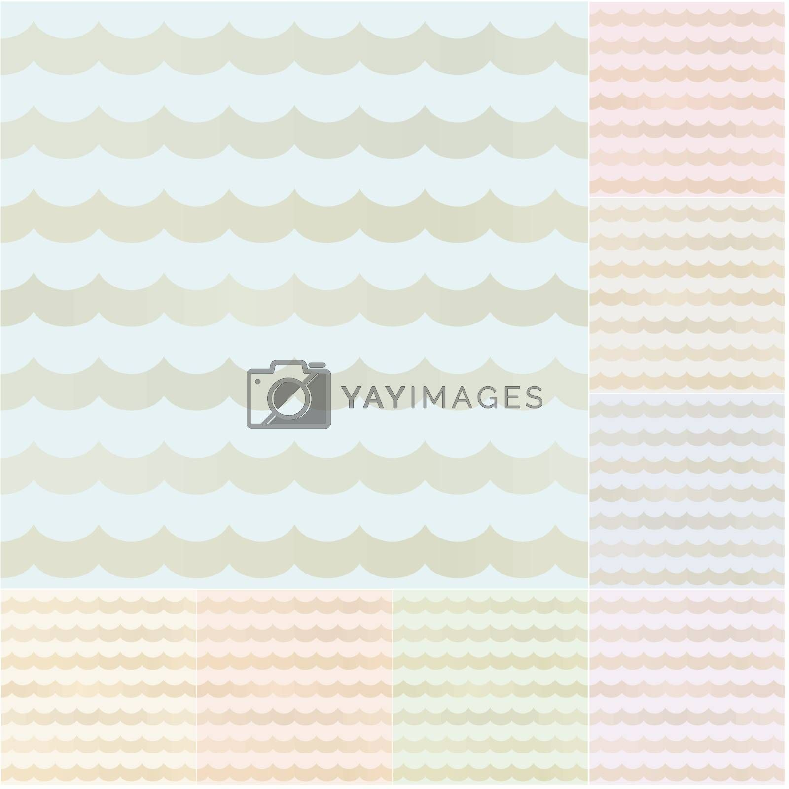 seamless pastel wavy stripes with gold gradient