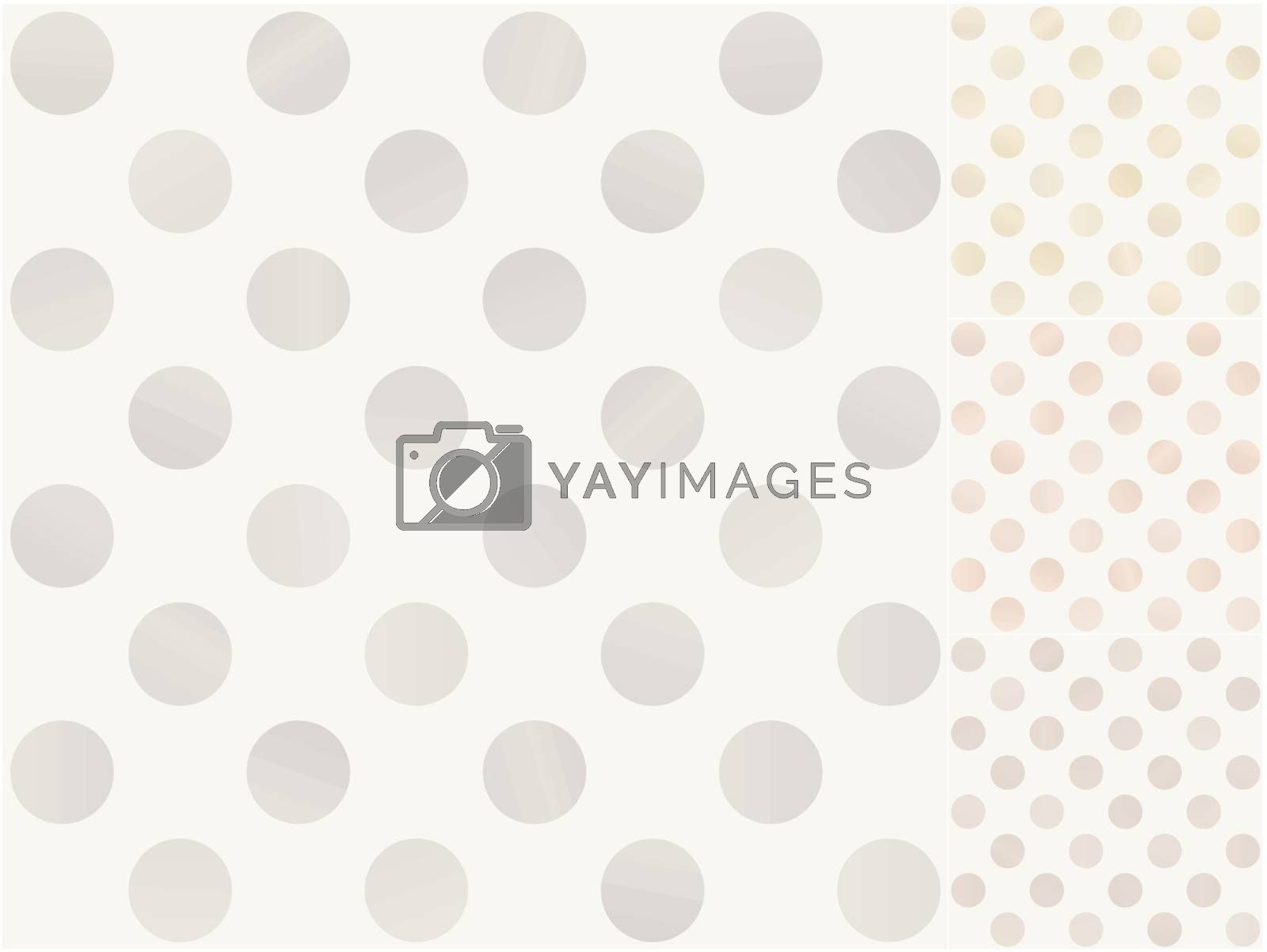 seamless polka dots with silver, gold, bronze gradient