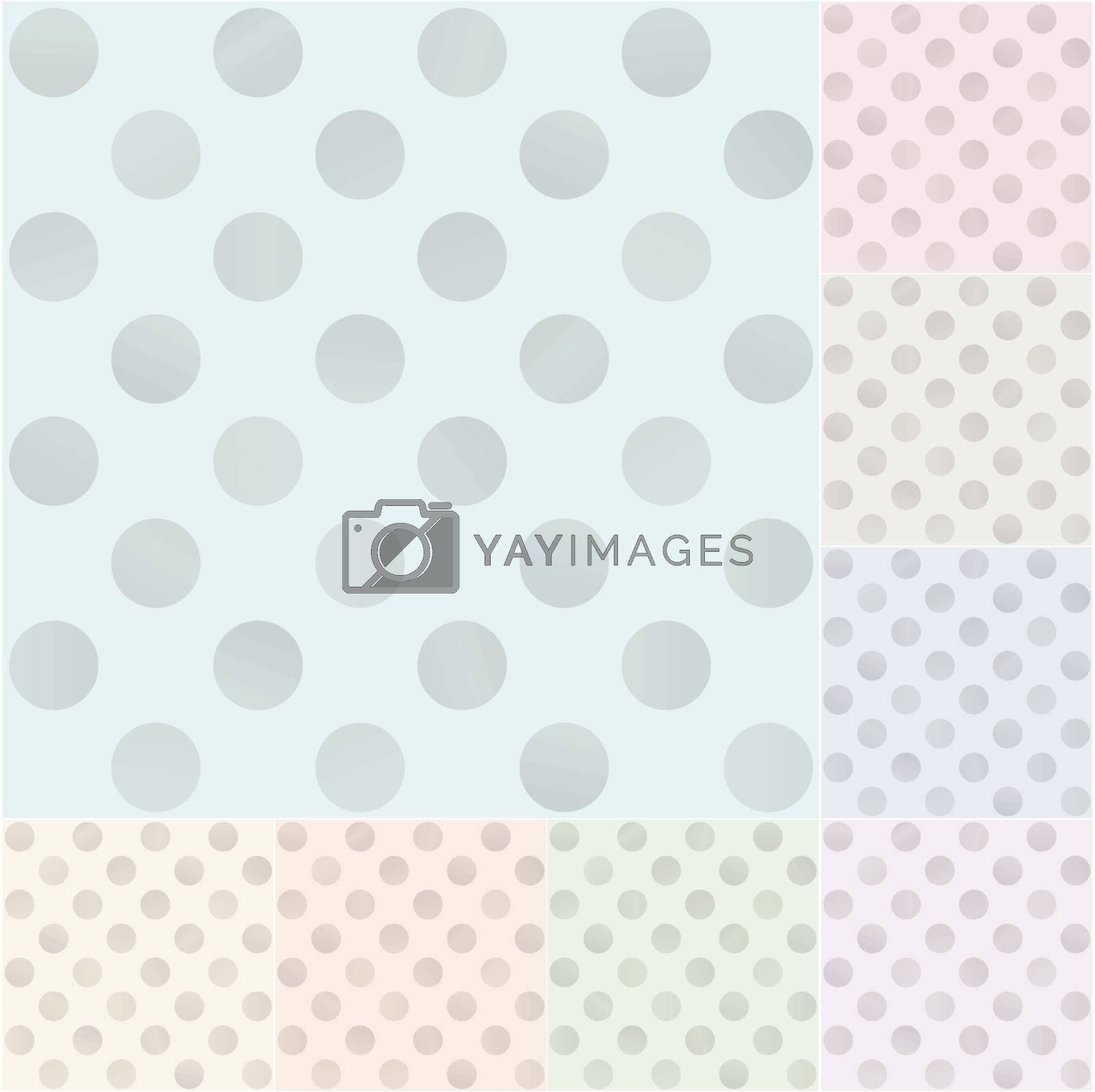 seamless pastel polka dots with silvery gradient