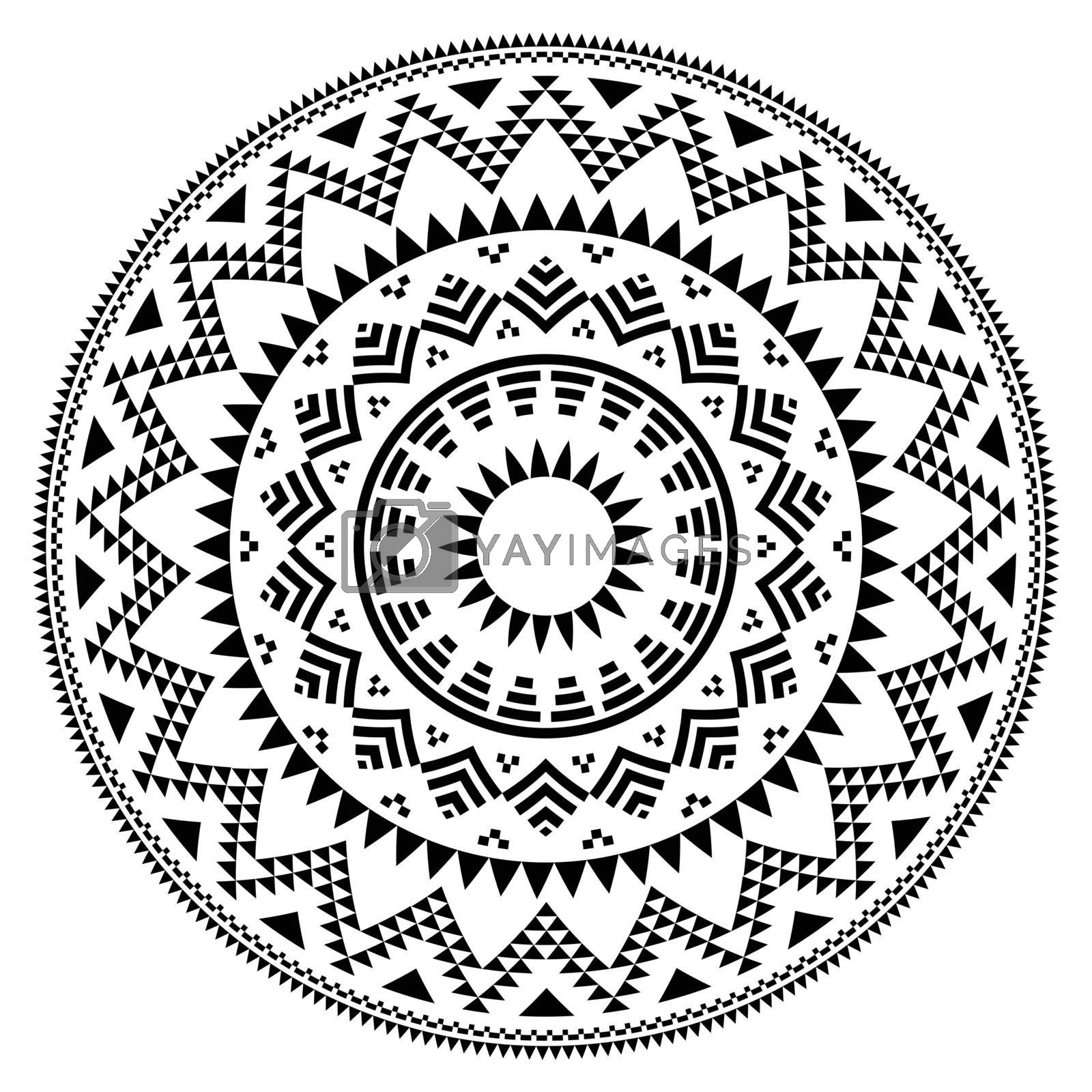 Vector round pattern in black and white isolated on white