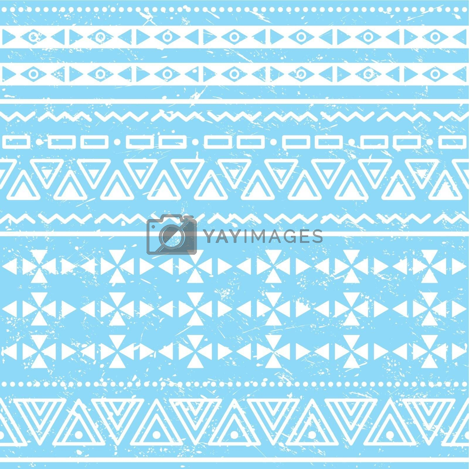 Vector seamless aztec ornament, ethnic vuntage pattern on blue background