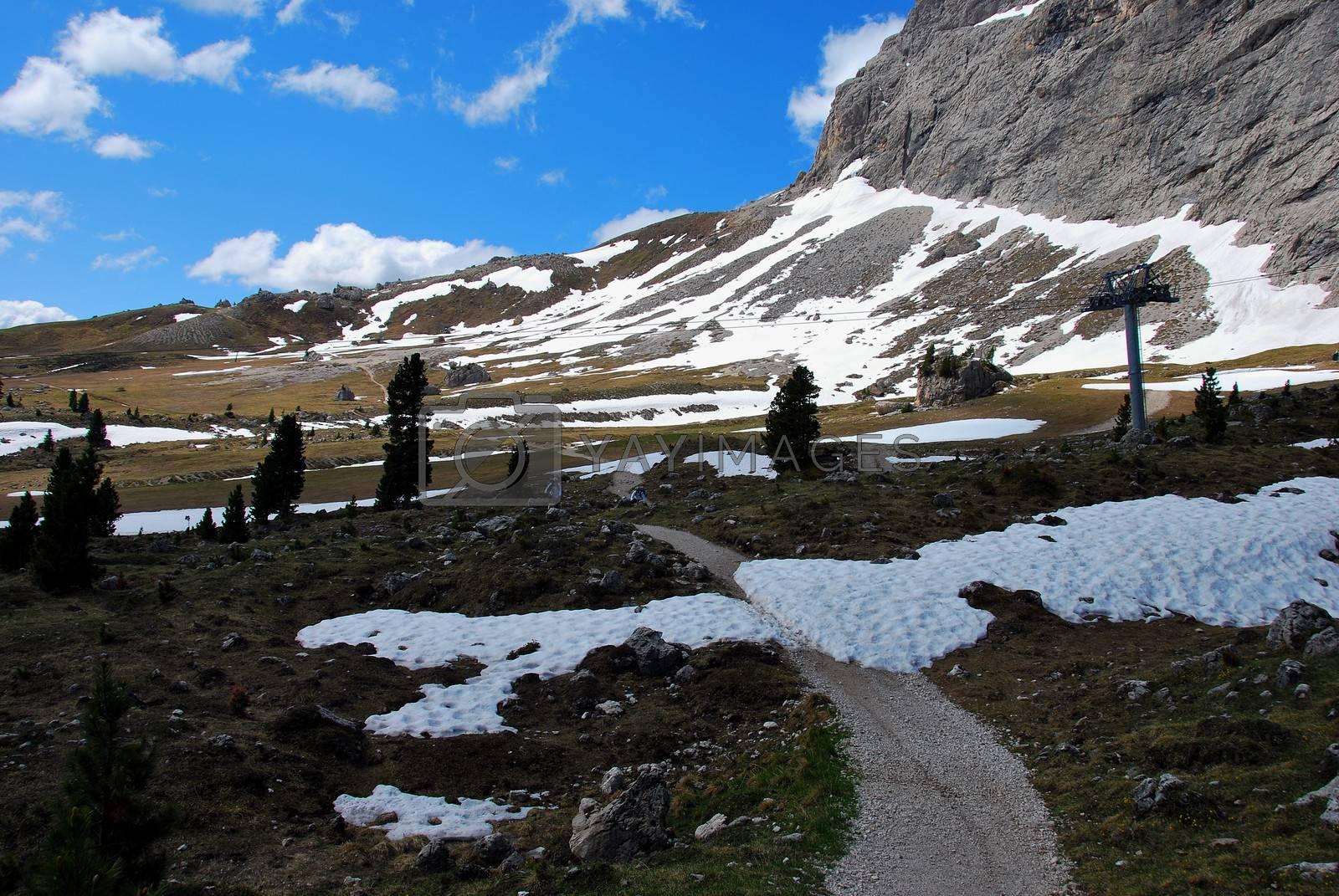beautiful little small path in the mountains in mountainbiking