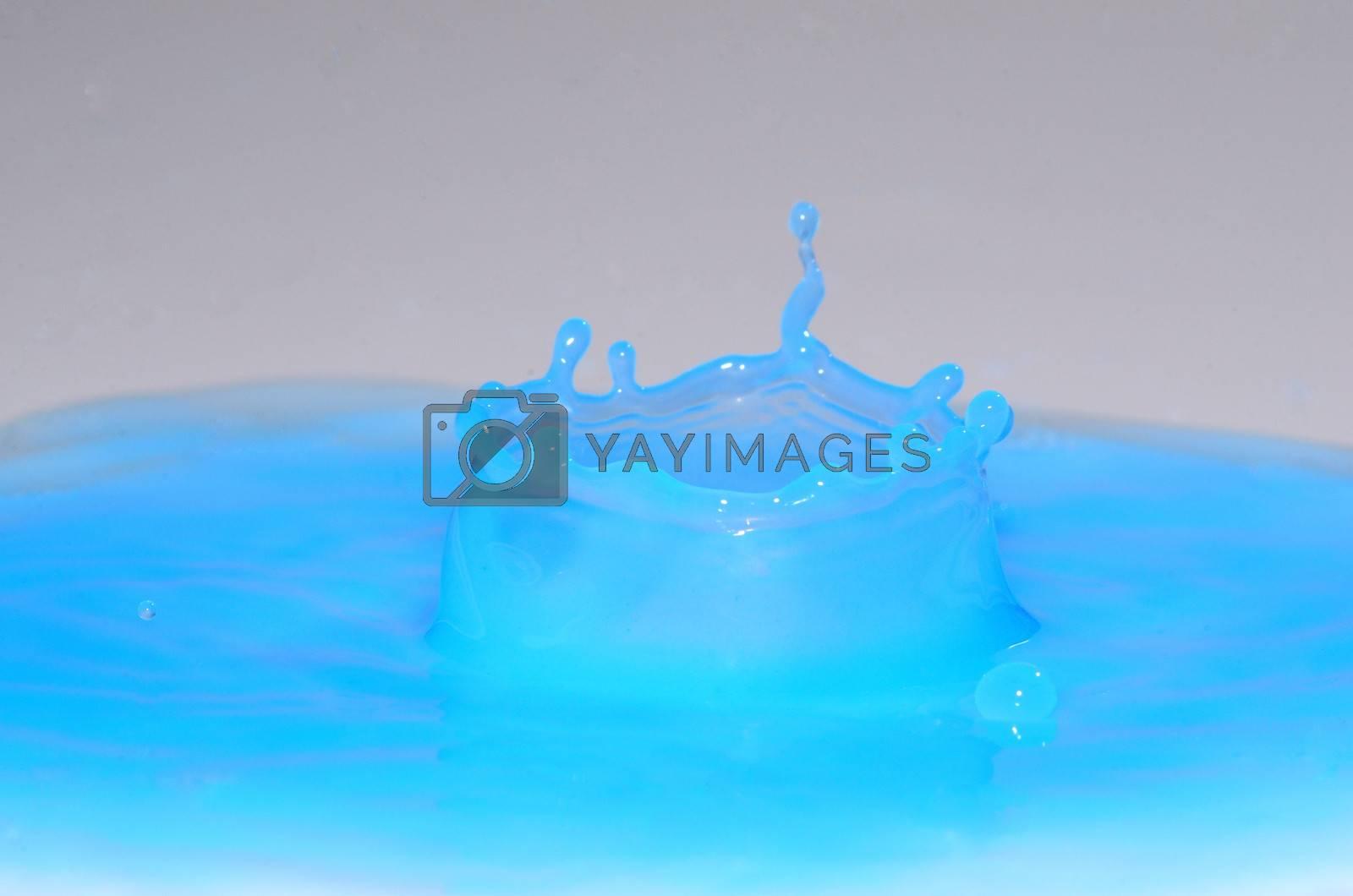high blue crown in a blue liquid