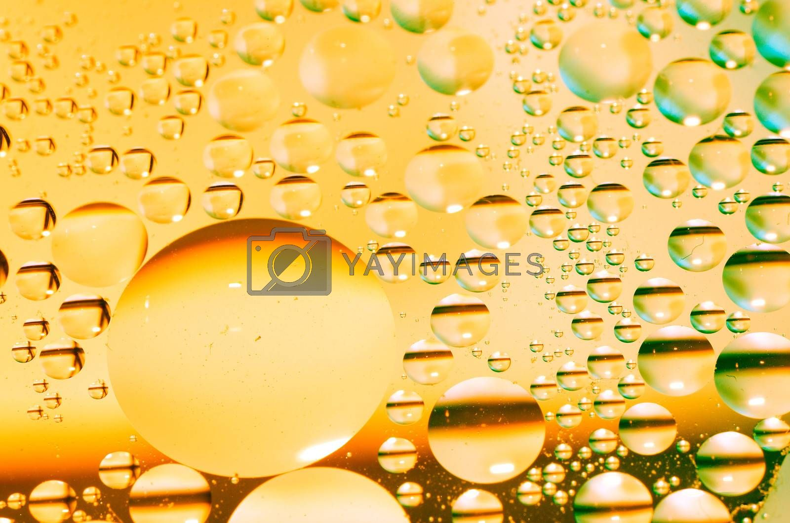 oil circles with reflection in yellow liquid