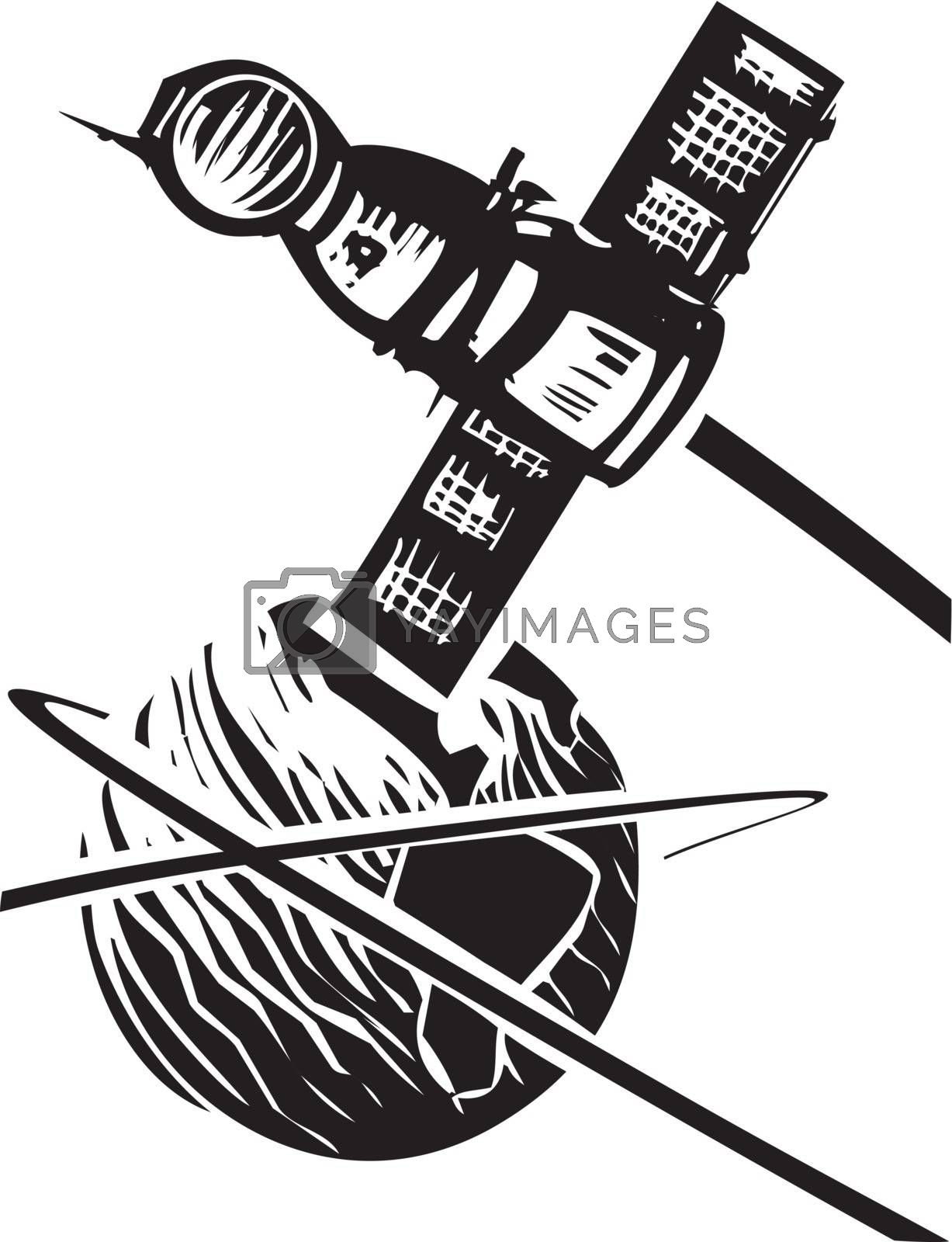 Black and White Soviet Poster style image of a Russian Soyuz capsule orbiting Earth.