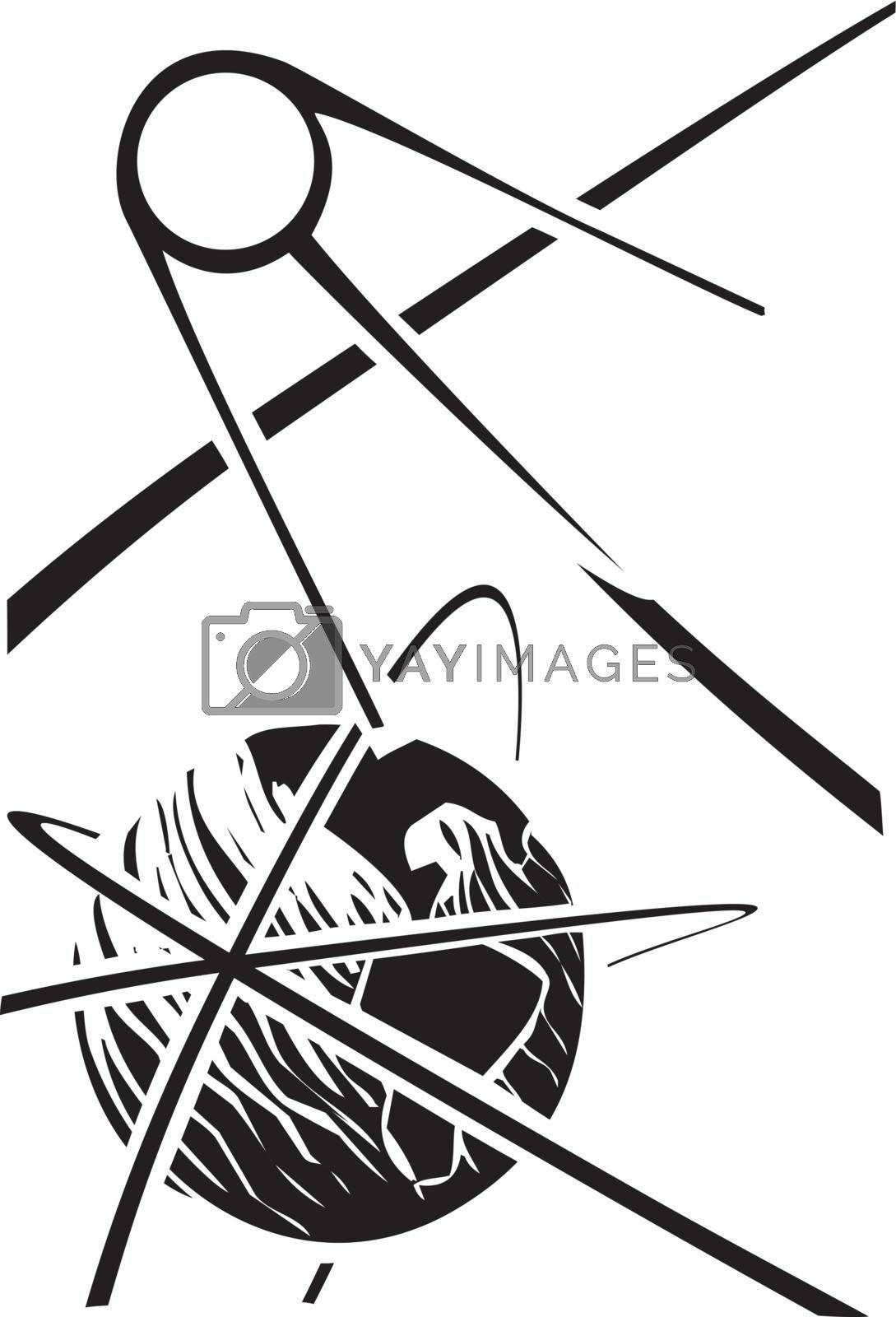 Black and White Soviet Poster style image of a Russian Sputnik satellite orbiting Earth.