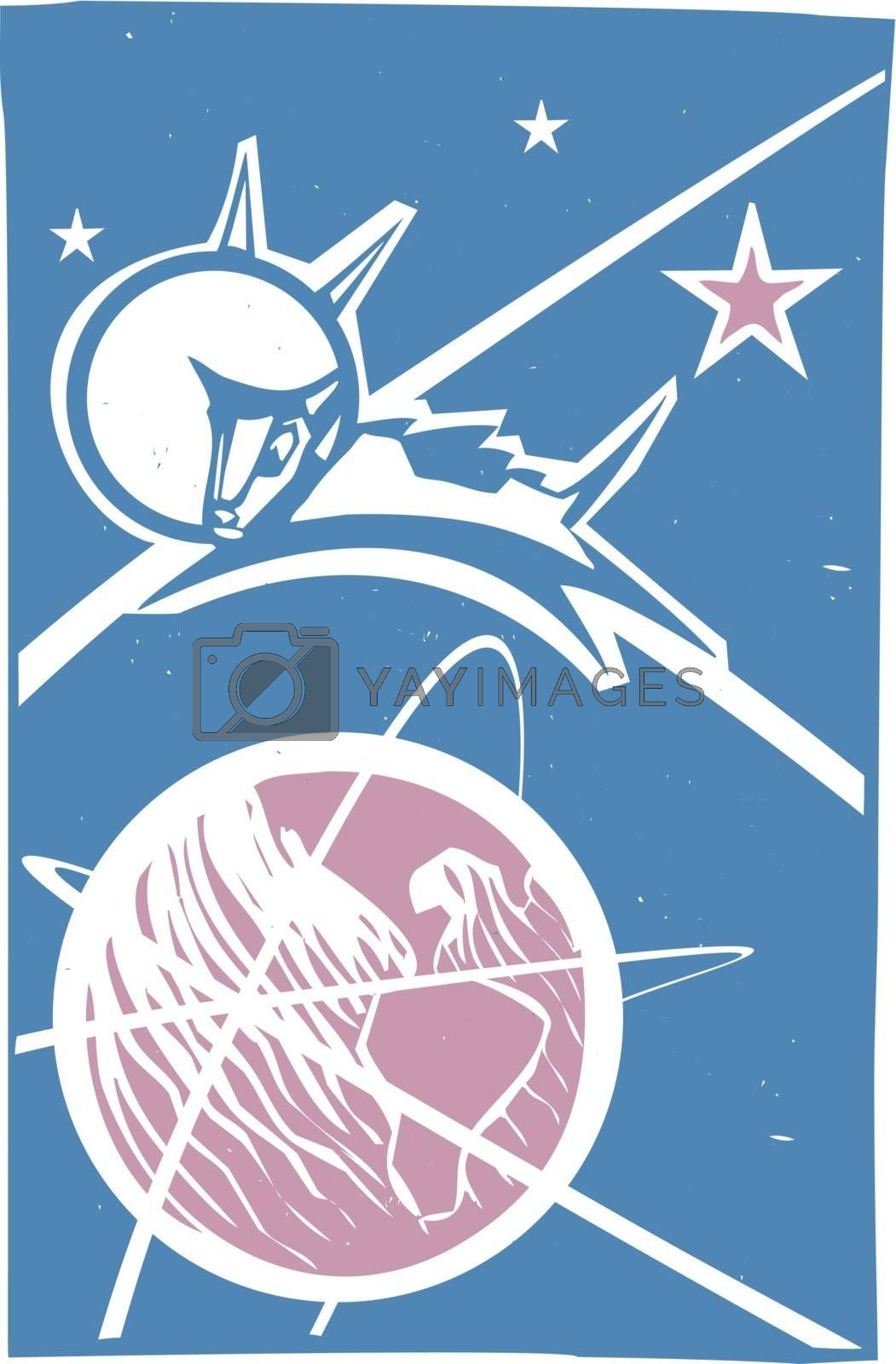 Soviet Poster style image of the Russian cosmonaut dog Laika orbiting the earth.