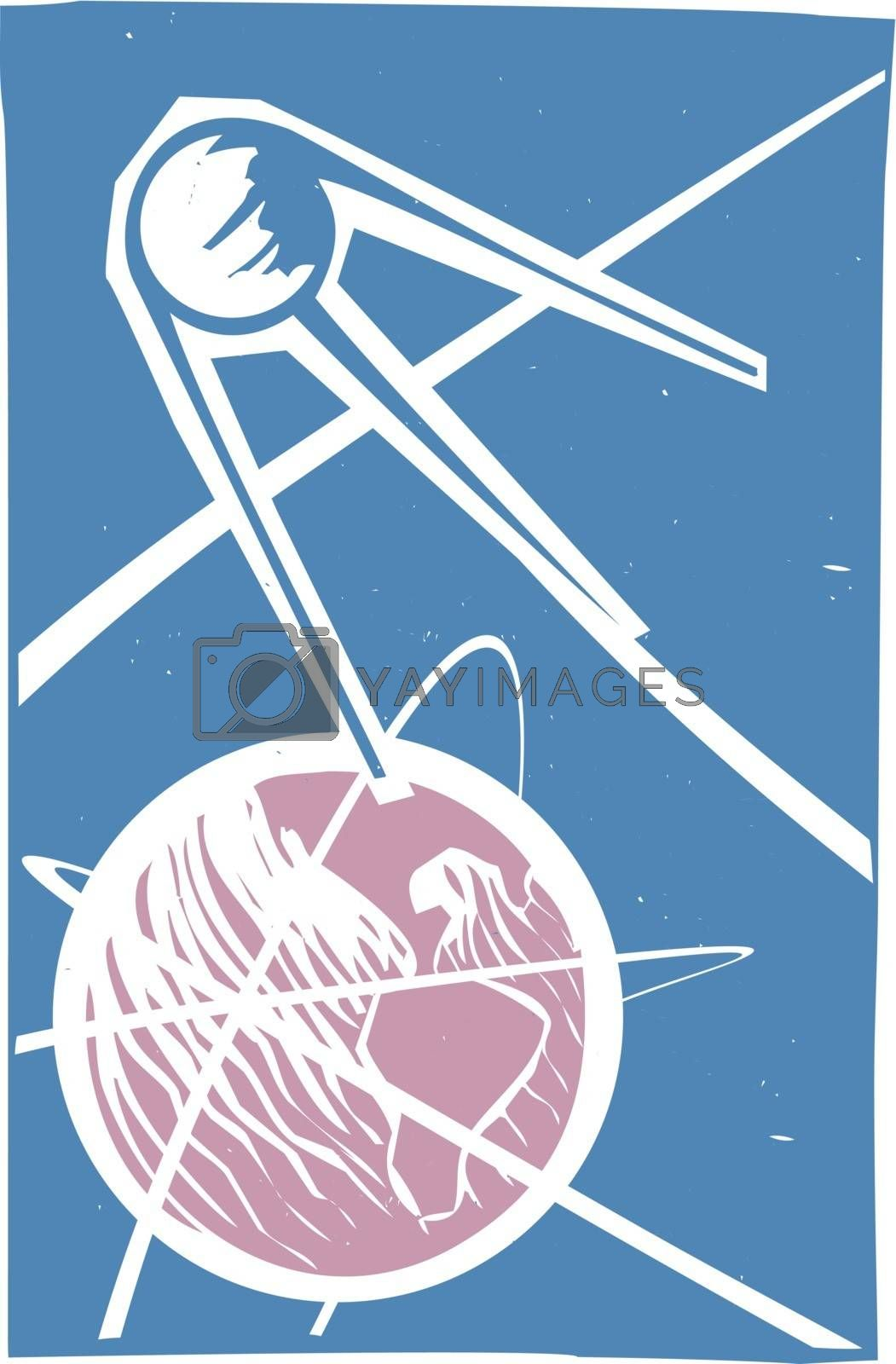 Soviet Poster style image of a Russian Sputnik satellite orbiting Earth.