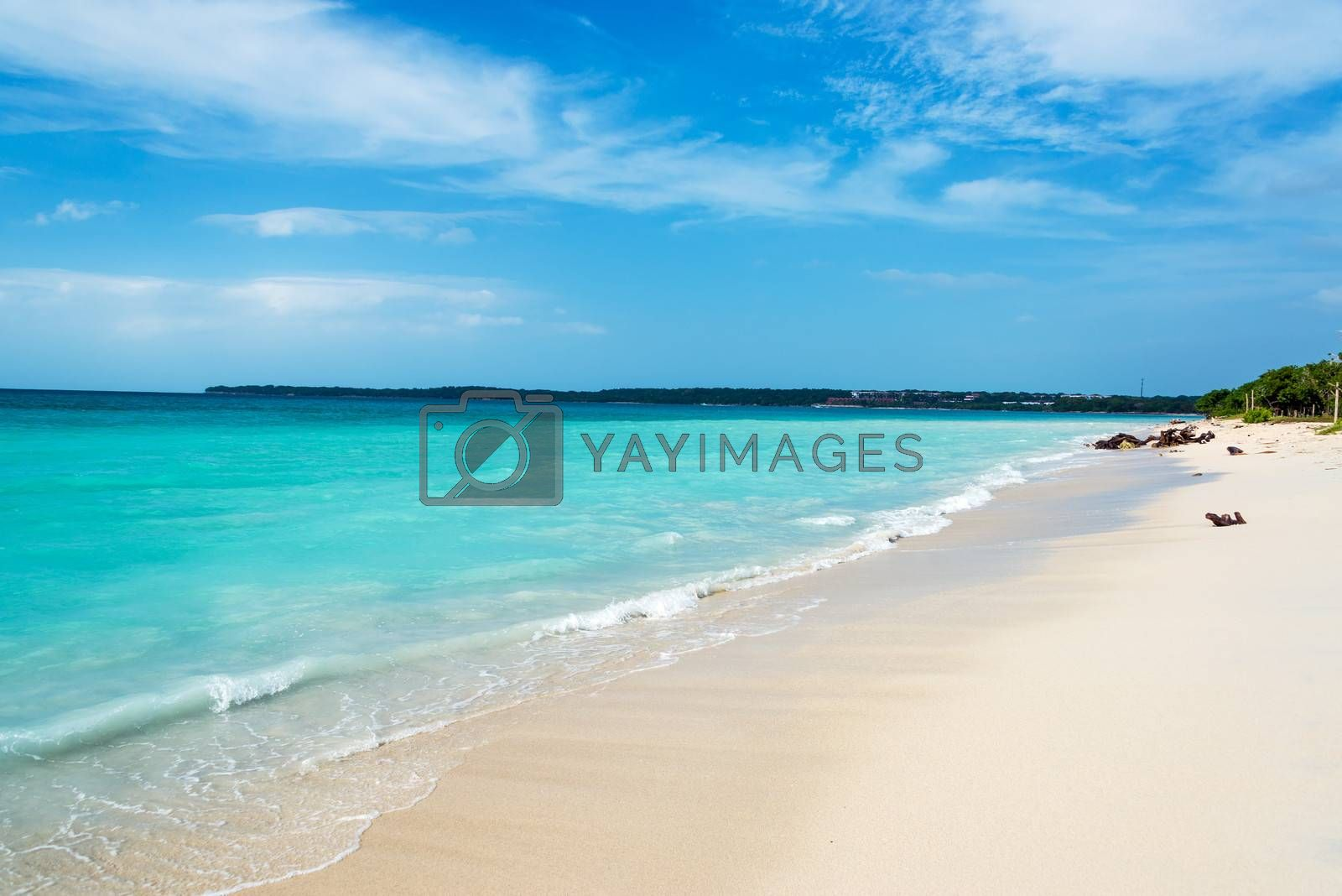 Stunning turquoise Caribbean water at Playa Blanca near Cartagena, Colombia