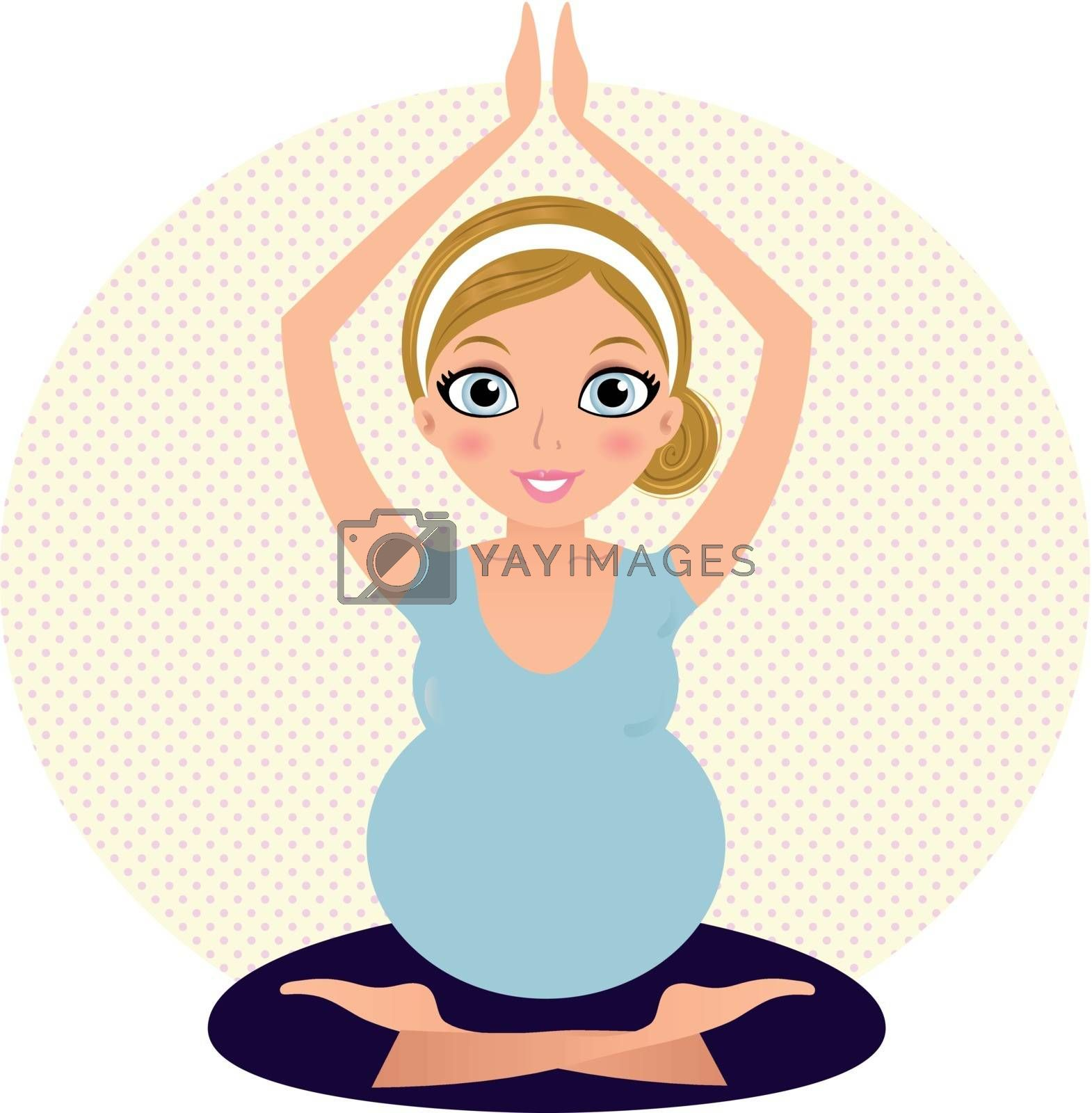Pregnant woman in Yoga pose. Vector Illustration