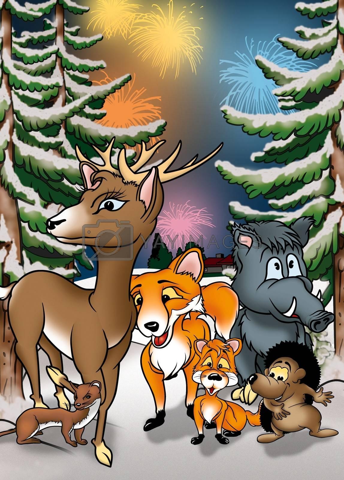 Animals And Fireworks - Cartoon Background Illustration, Bitmap