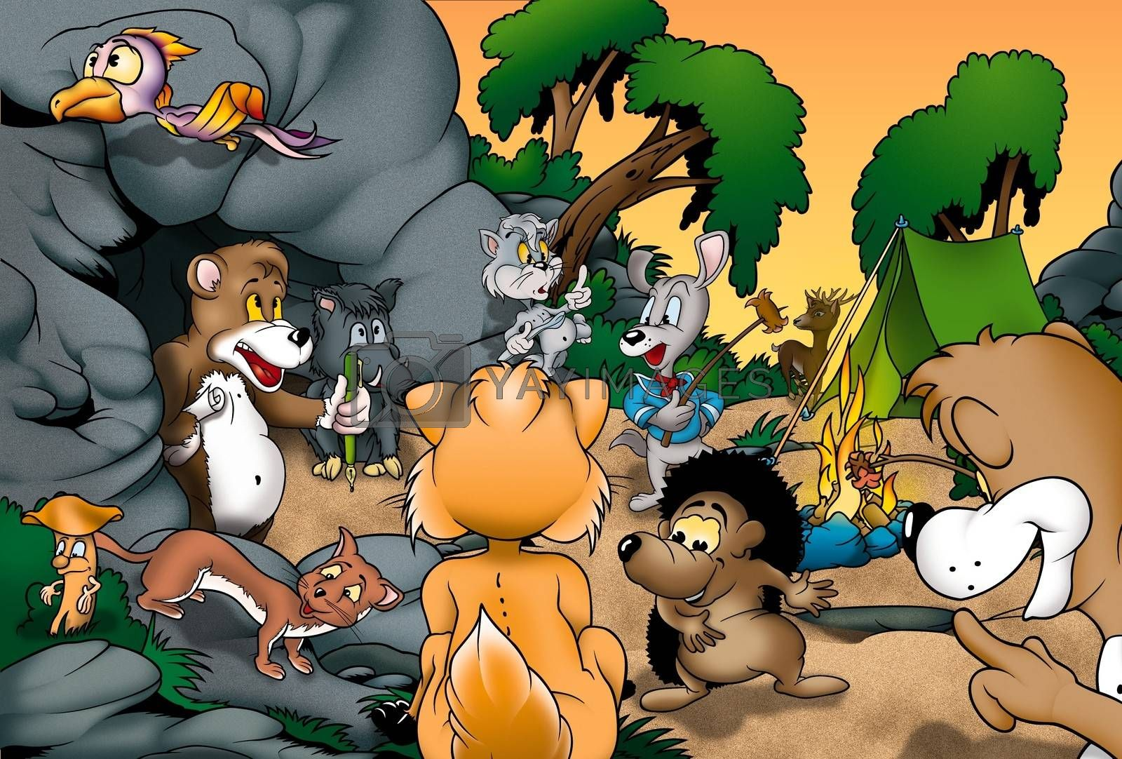 Animals Camping - Cartoon Background Illustration, Bitmap