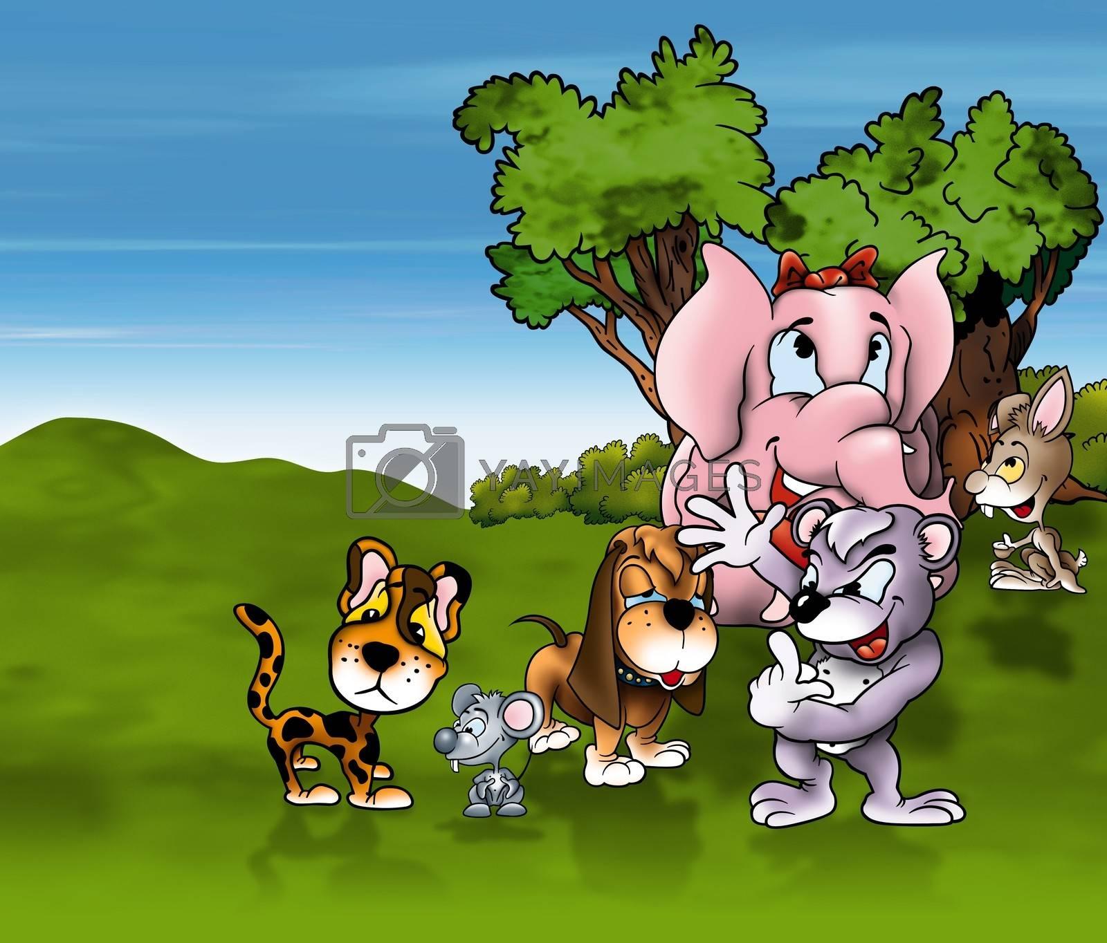 Animals Cartoon - Cheerful Background Illustration, Bitmap