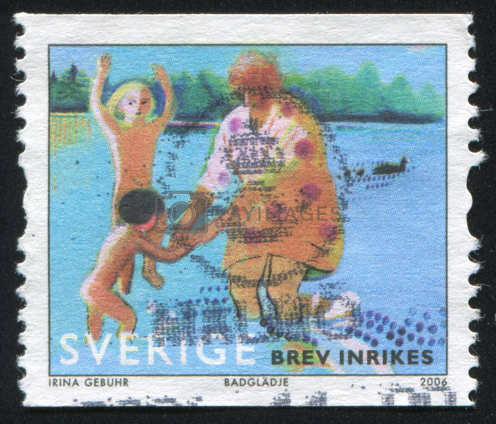 SWEDEN - CIRCA 2006: stamp printed by Sweden, shows Summer by the Lake, circa 2006