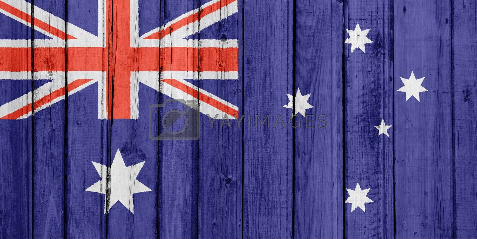 The Australian flag painted on a wooden fence