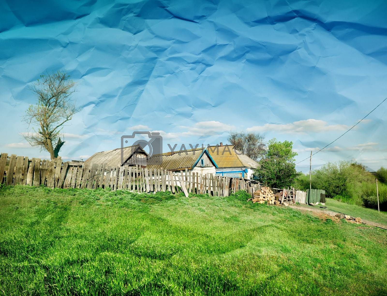 Rural summer landscape with paper texture