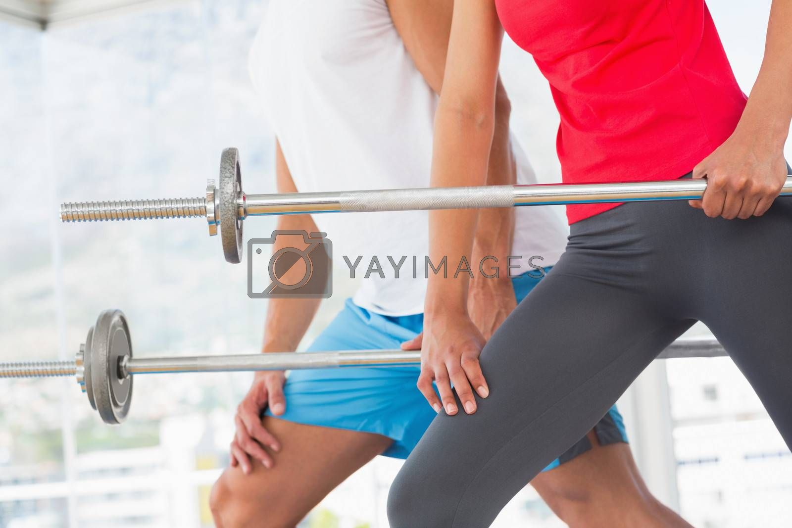 Mid section of fit young man and woman holding barbells in the gym