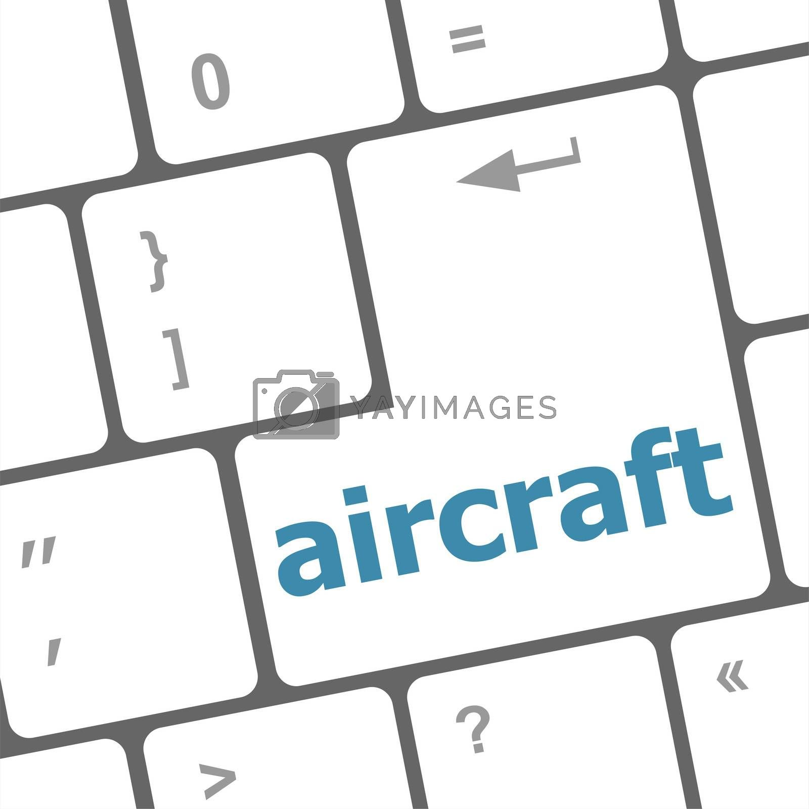 aircraft on computer keyboard key enter button