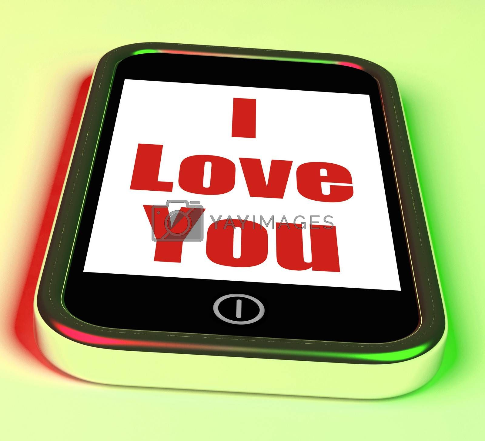 I Love You On Phone Showing Adore Romance