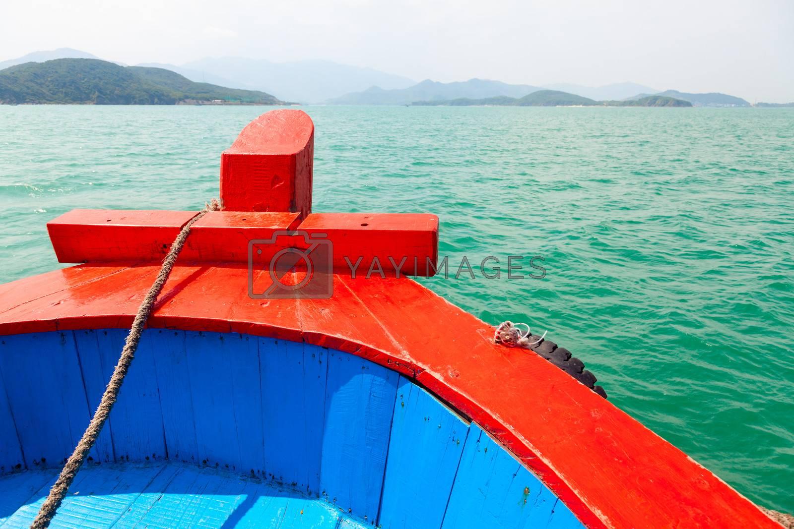 Pleasure boat bow cruising in the sea