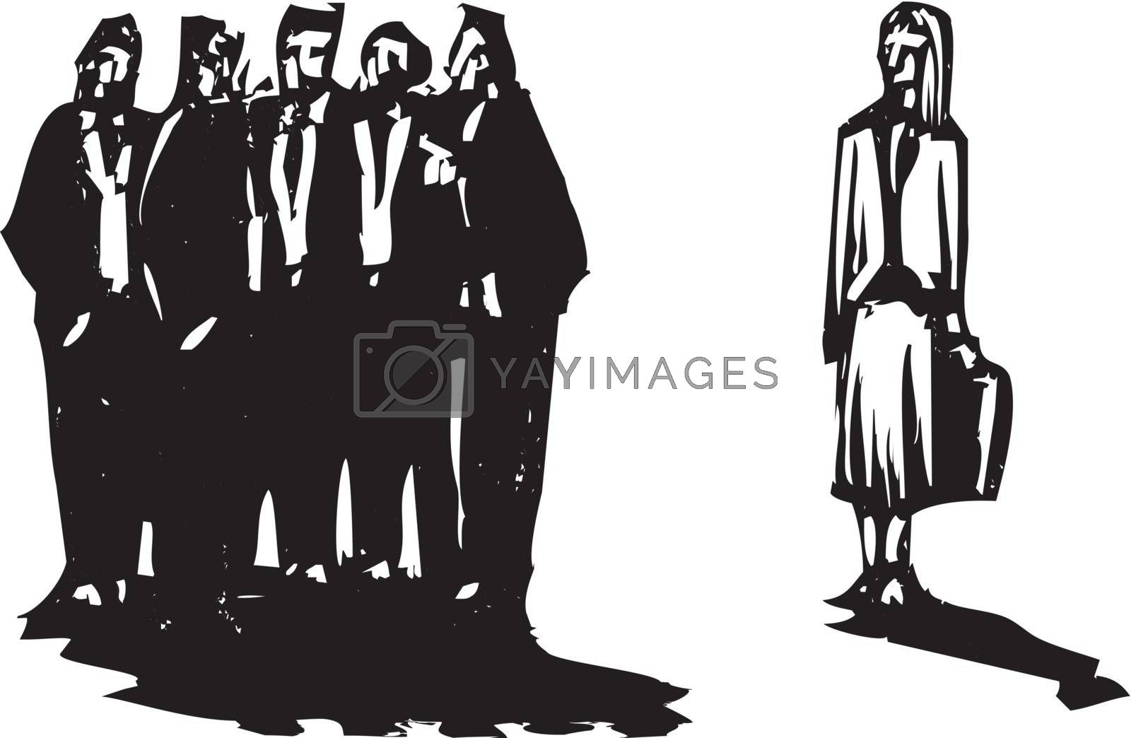Crowd of men in business suits excluding a woman with briefcase.