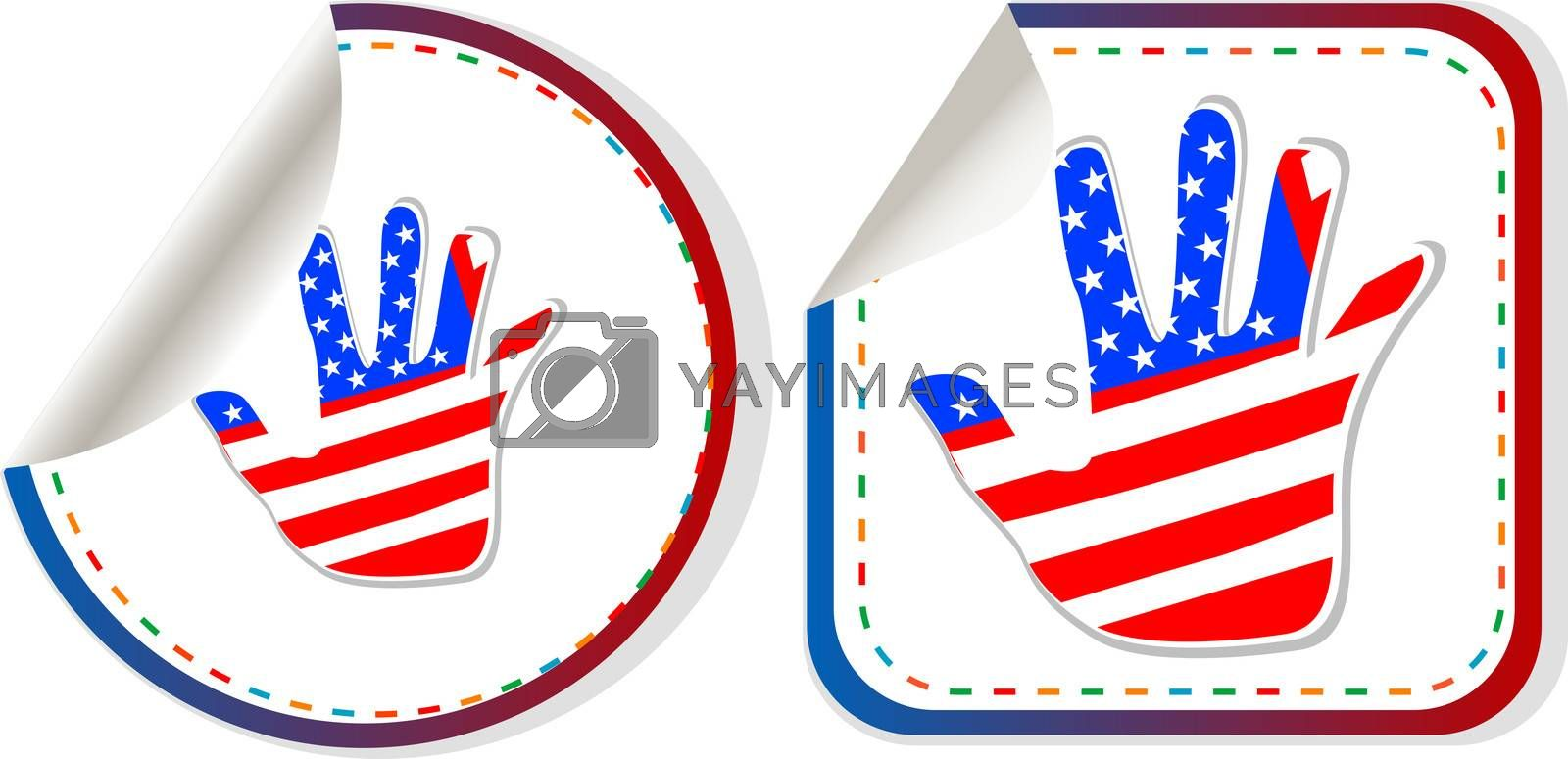 Royalty free image of american hand sign stickers set by fotoscool