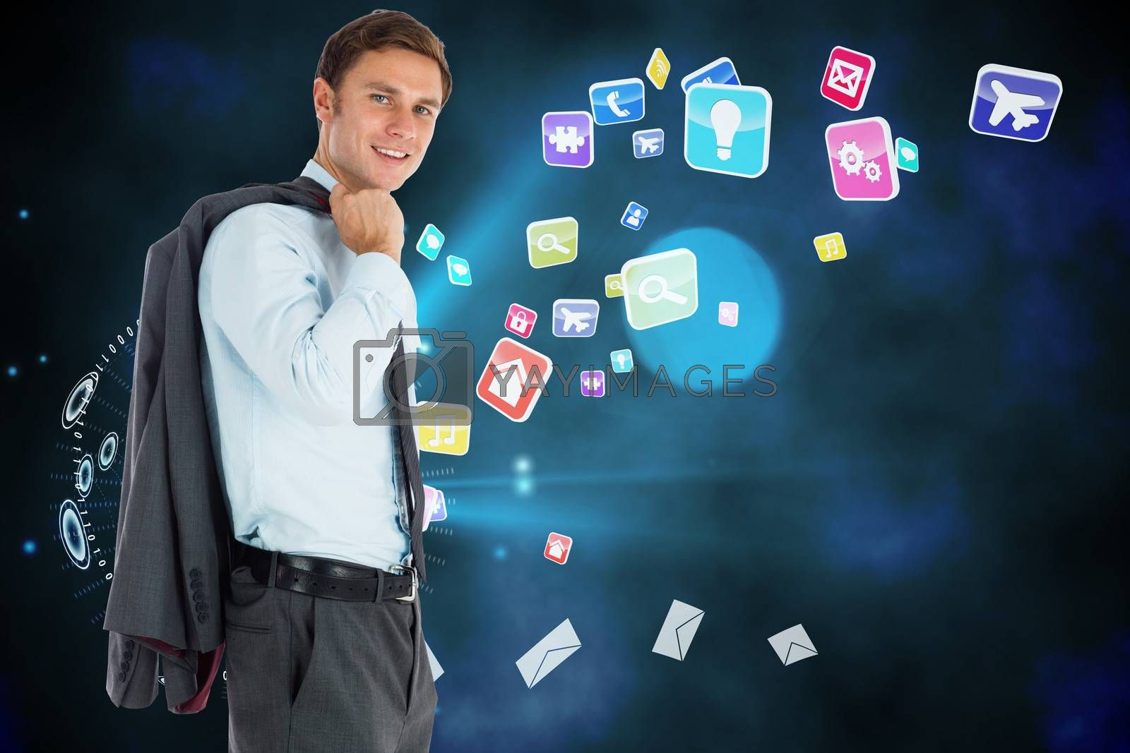 Smiling businessman holding his jacket against global communication background