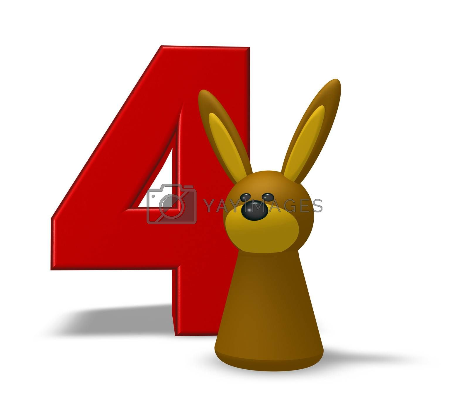 number four and rabbit - 3d illustration