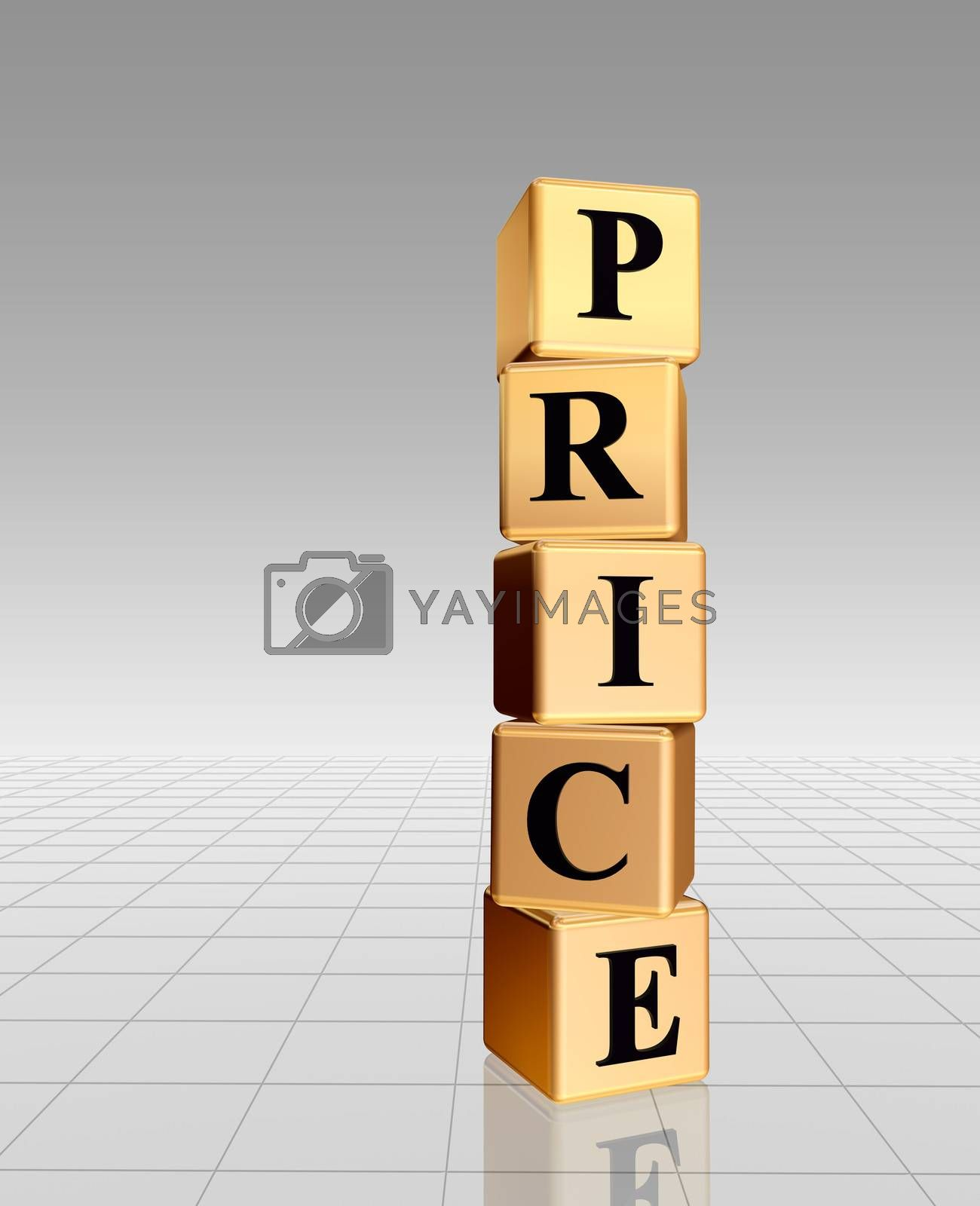 3d golden boxes with text - price, word, with reflection