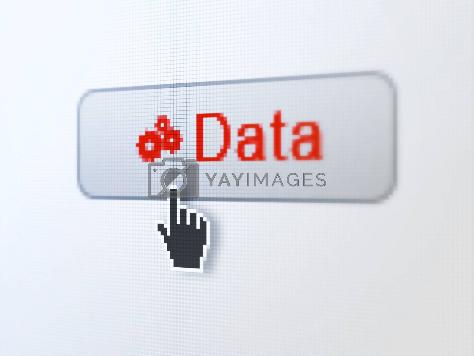 Data concept: pixelated words Data and Gears icon on button withHand cursor on digital computer screen background, selected focus 3d render