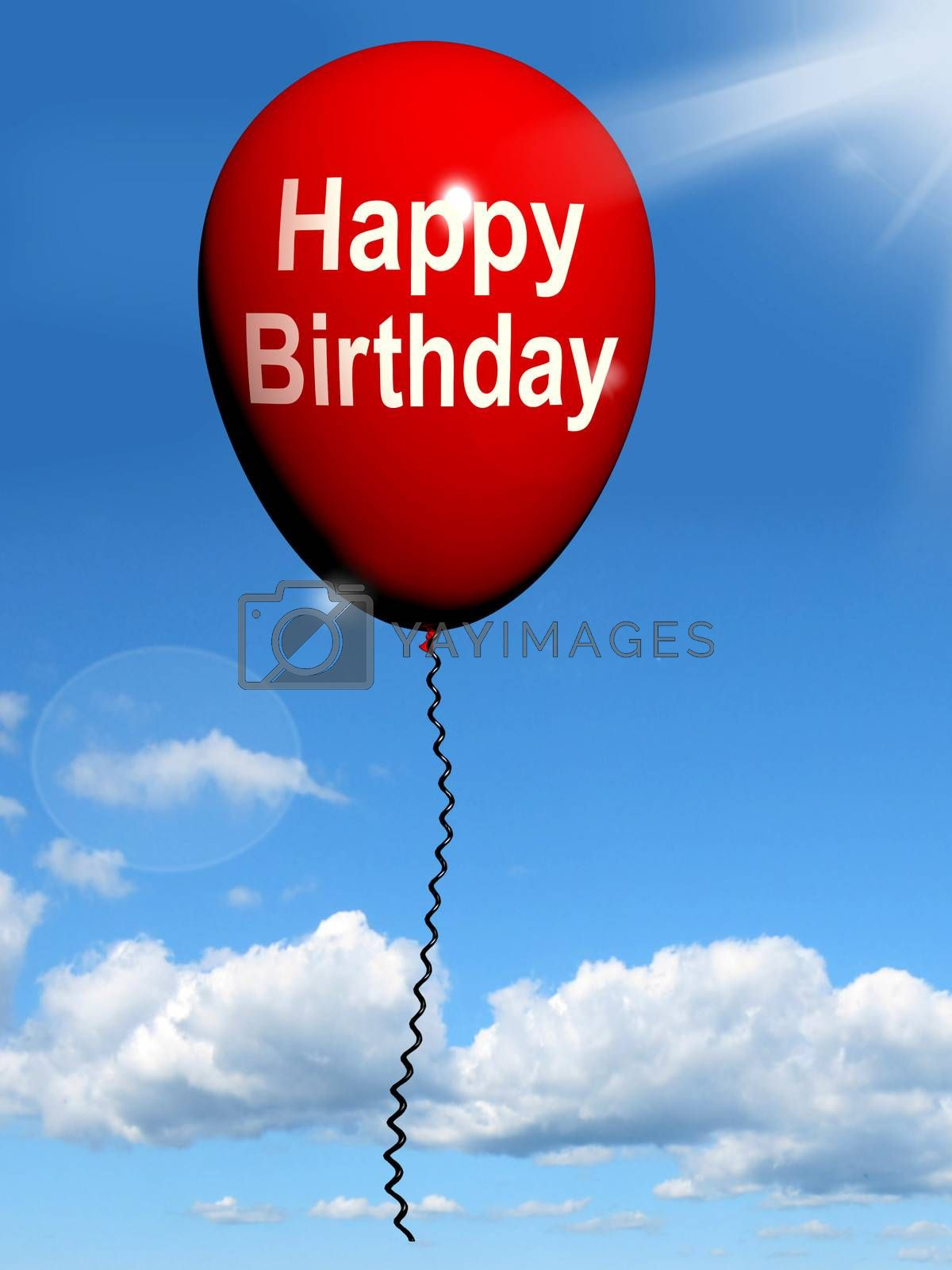 Happy Birthday Balloon Showing Cheerful Festivities and Parties