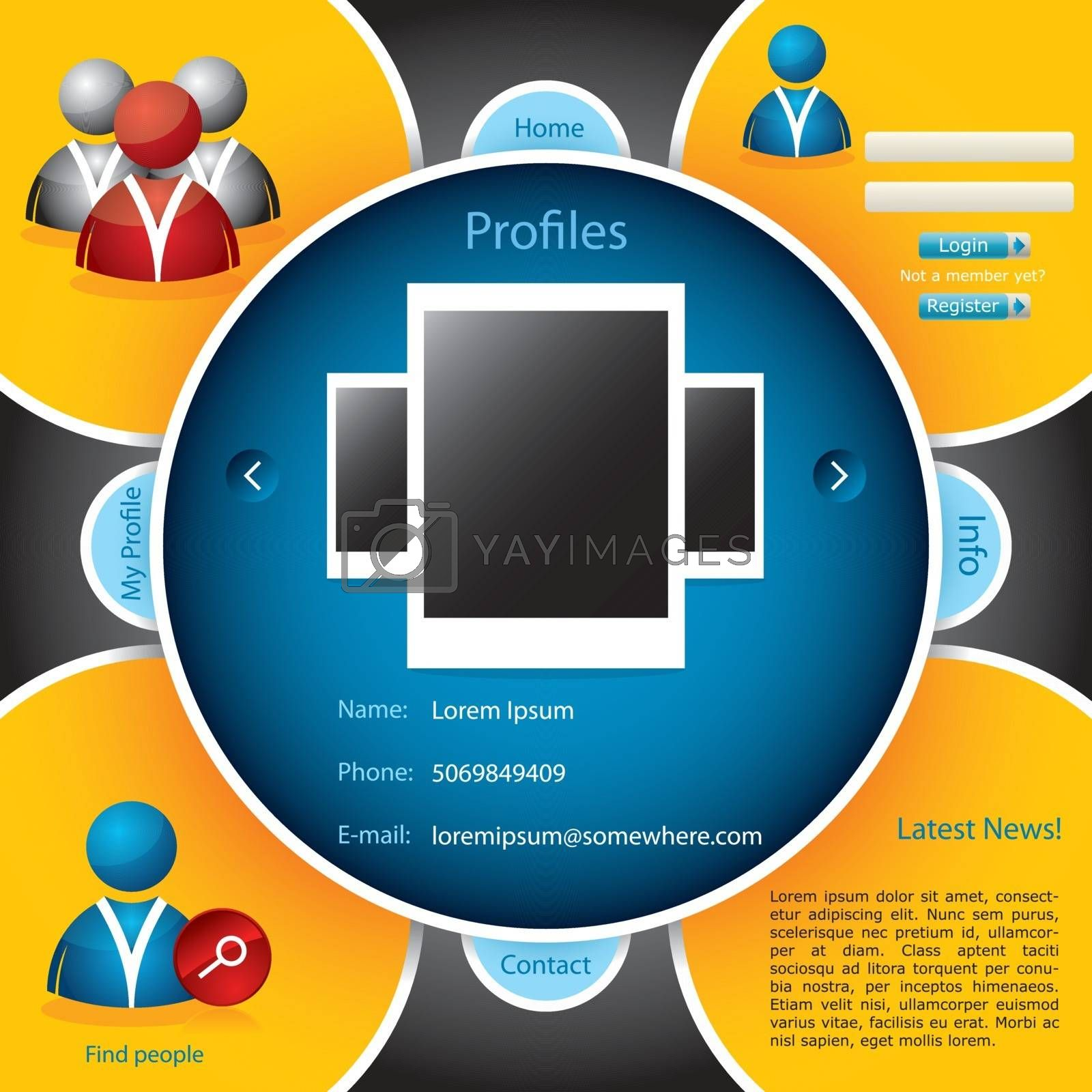 Web template for social networking