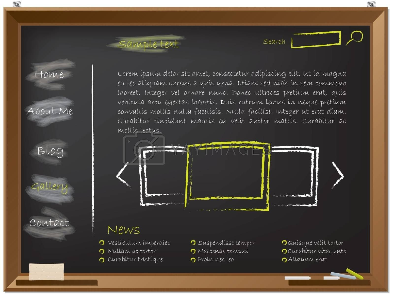 Website template design on blackboard drawn with chalk