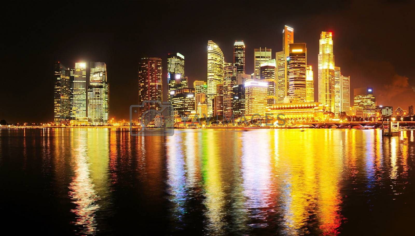 Night Panoramic view of illuminated Singapore downtown