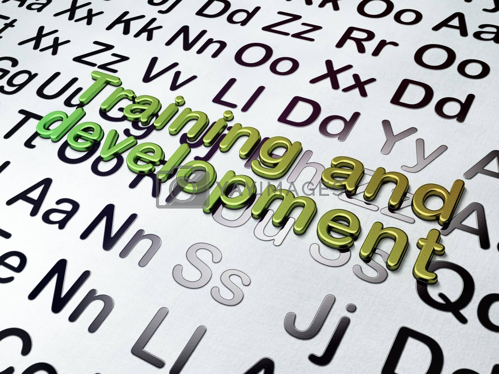 Education concept:  Training and Development on Alphabet background, 3d render
