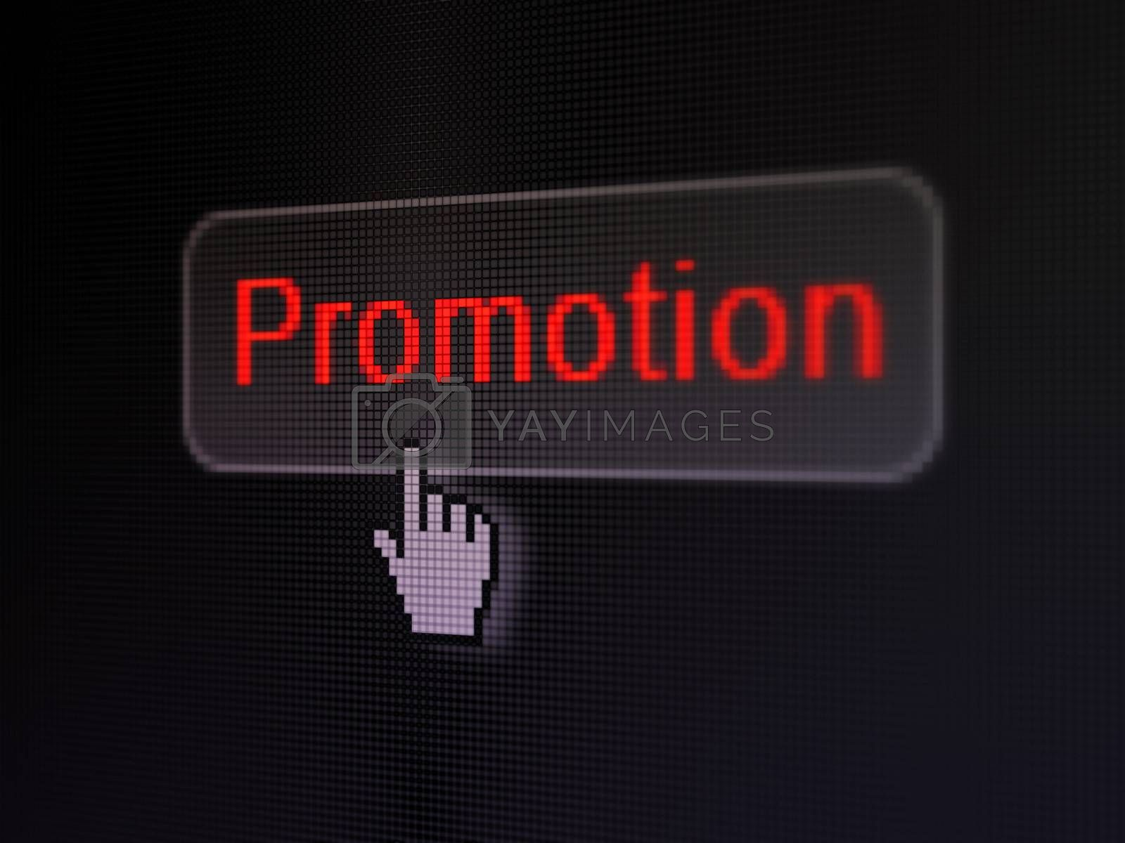Marketing concept: pixelated words Promotion on button with Hand cursor on digital computer screen background, selected focus 3d render