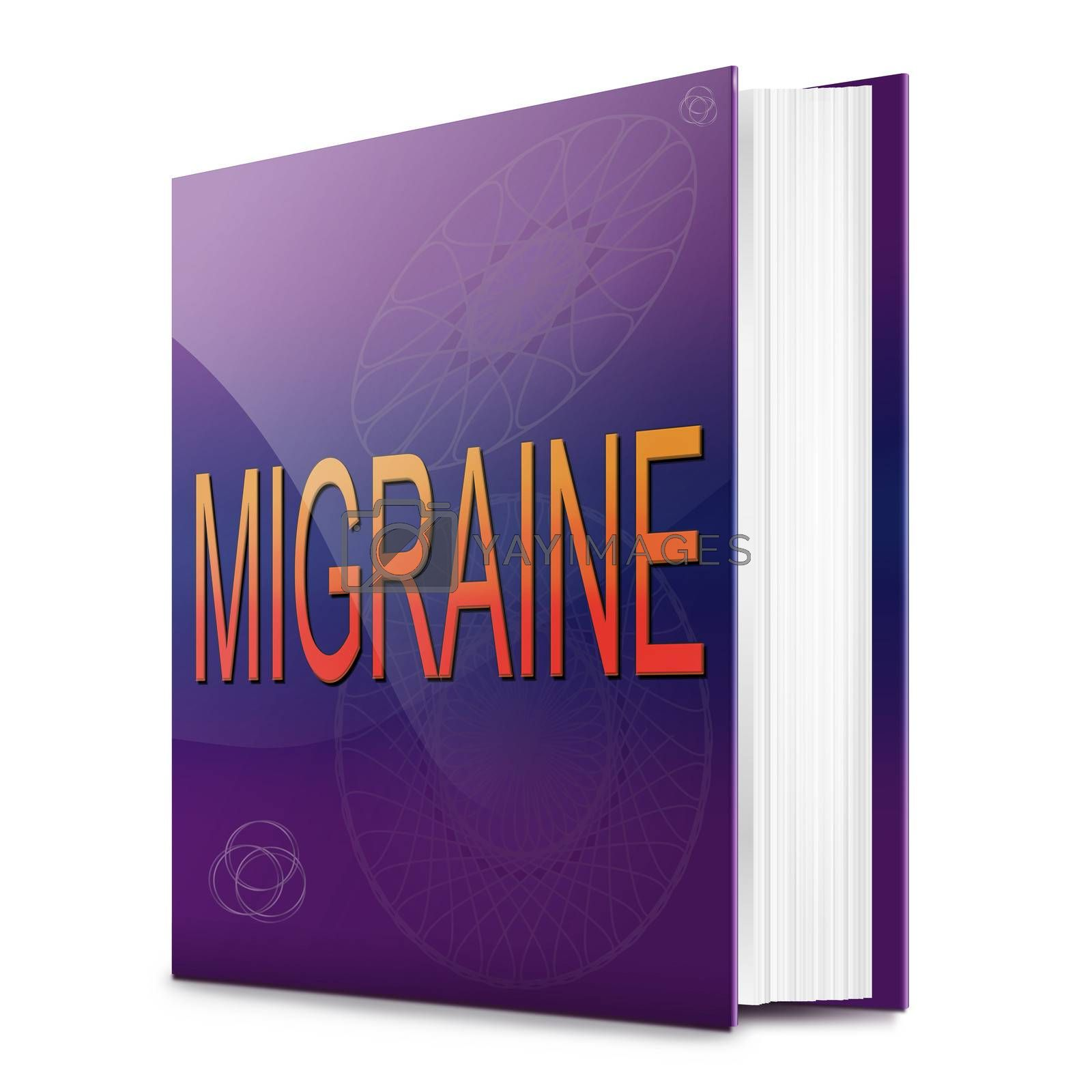 Illustration depicting a text book with a migraine concept title. White background.