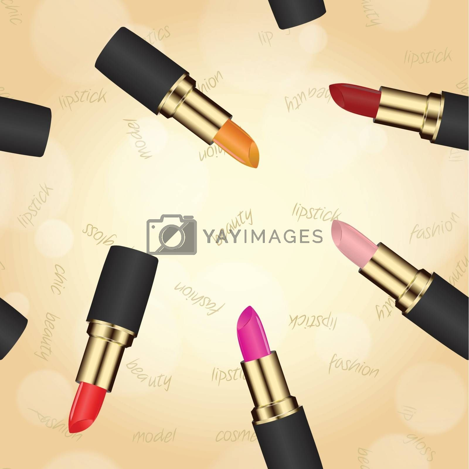 lipstick in case on a beige background with bokeh effect. used as a backdrop or greeting card. space for text
