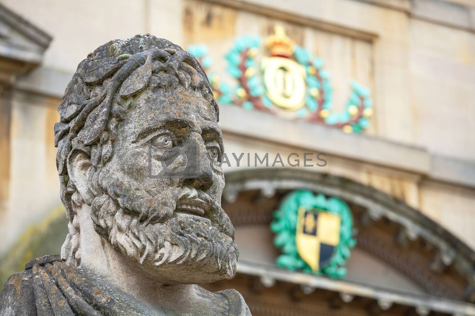 Statues outside the Sheldonian Theatre. Oxford, Oxfordshire, England