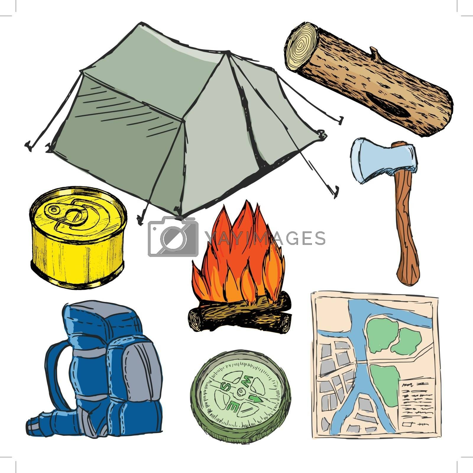 Royalty free image of set of camp objects by Perysty