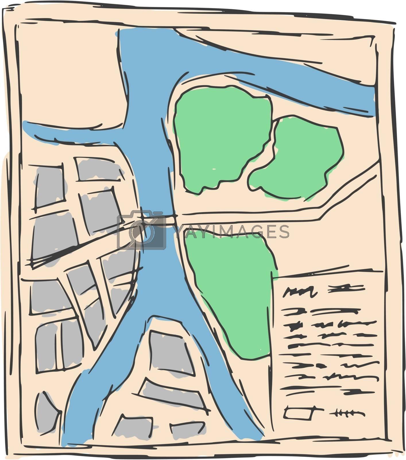 hand drawn, sketch, cartoon illustration of map