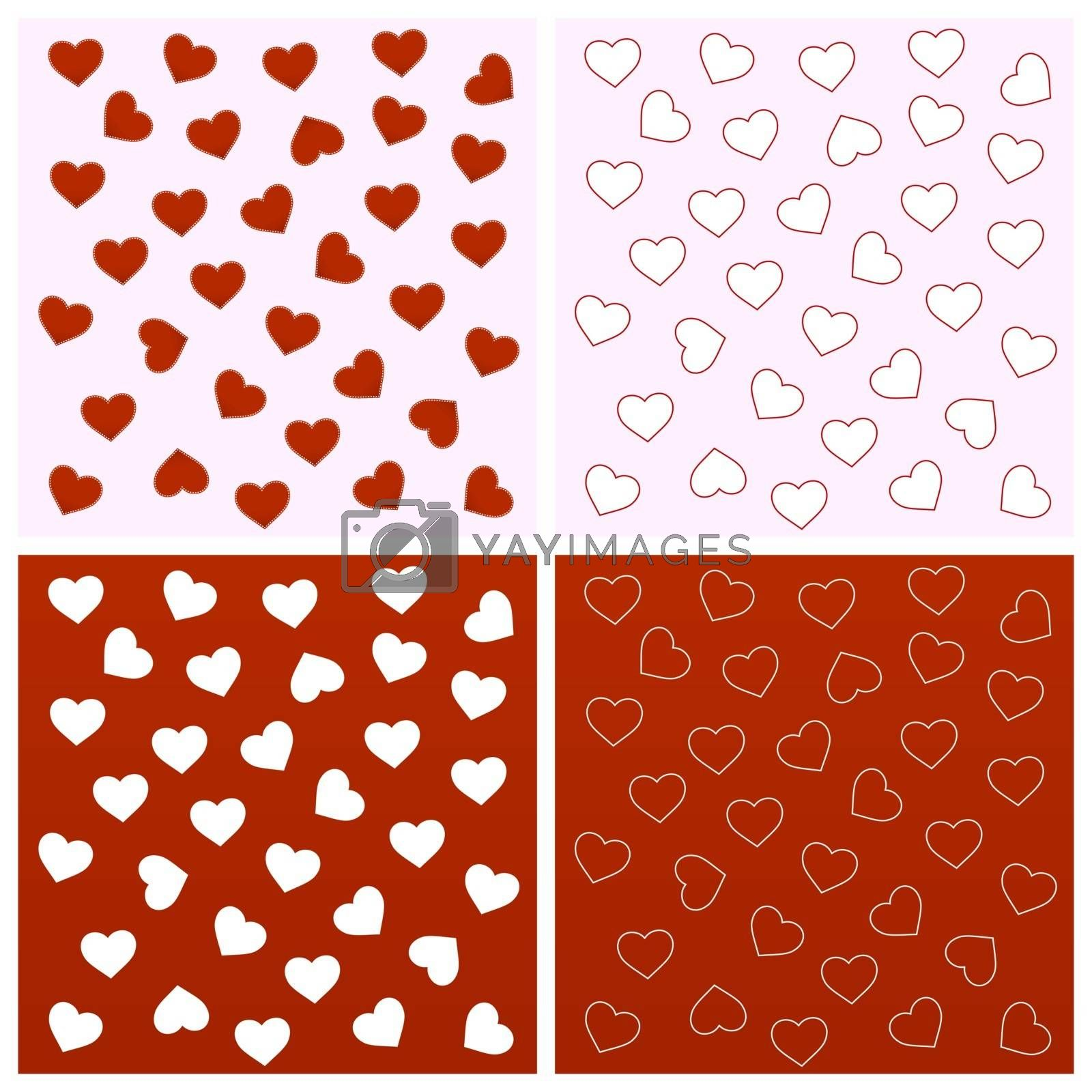 Collection of valentine seamless backgrounds