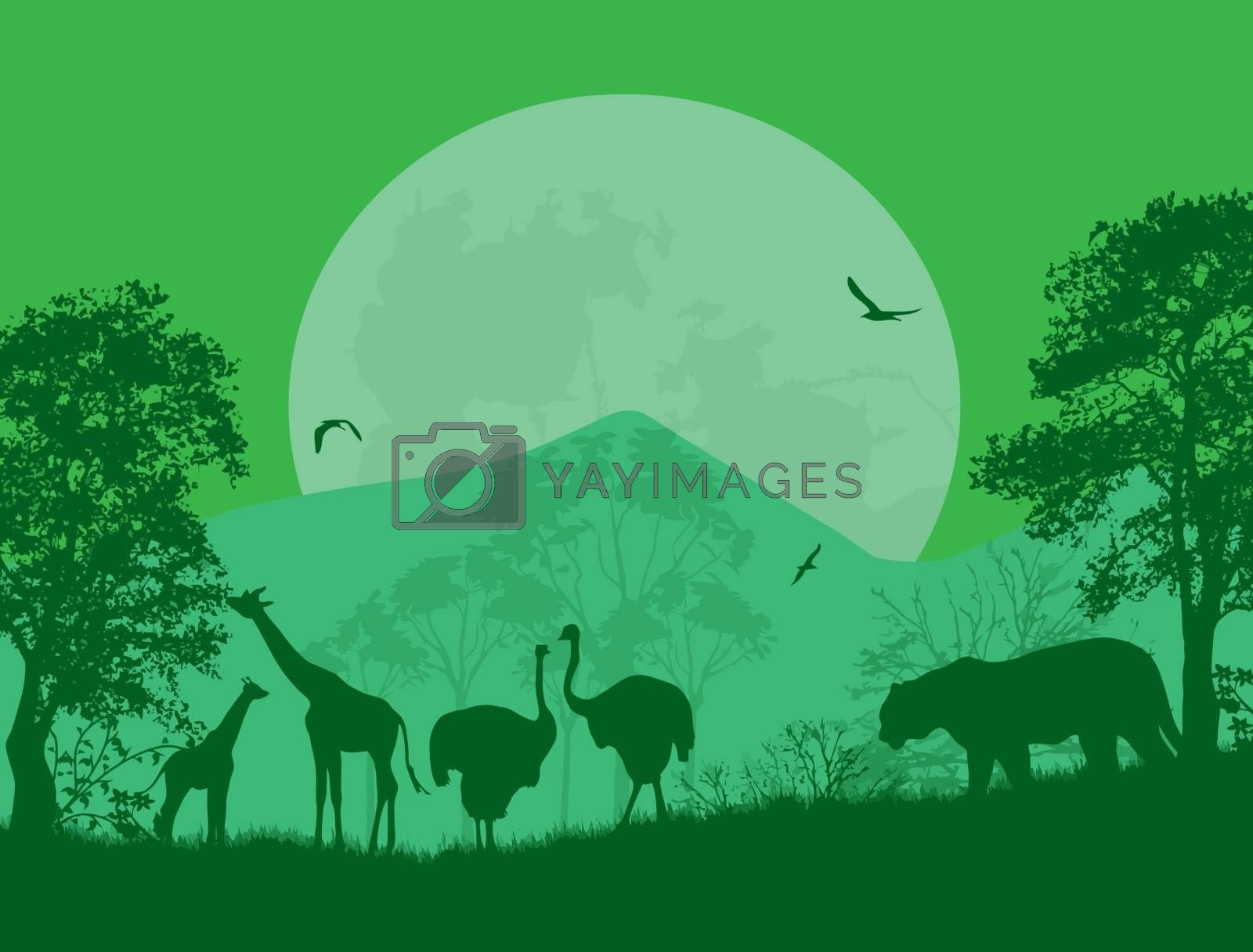 Wild animals in front a full moon on green, vector illustration