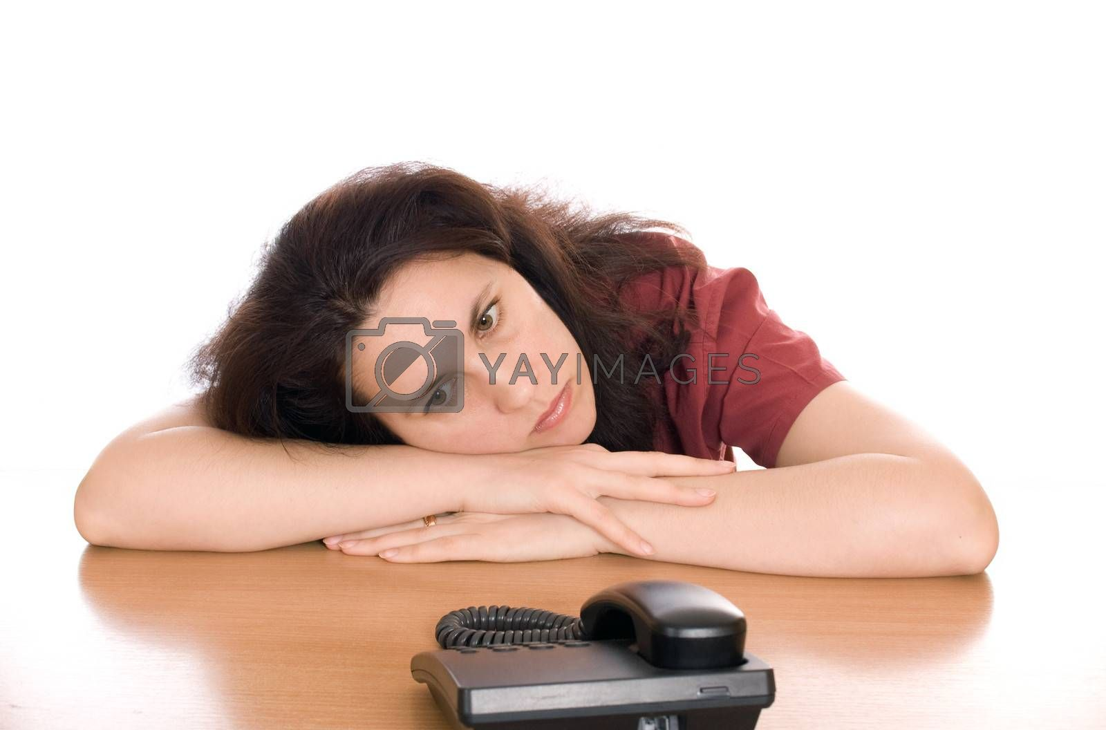 Young beautiful woman waiting for call isolated
