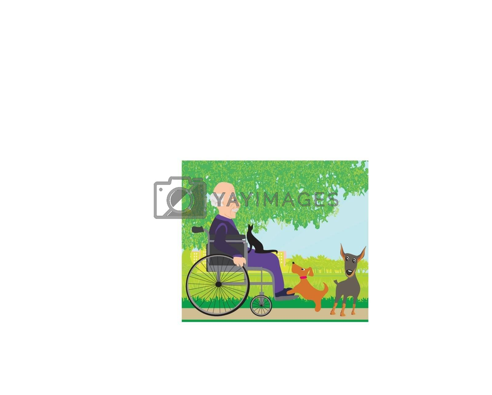 old man in a wheelchair and his pets by JackyBrown