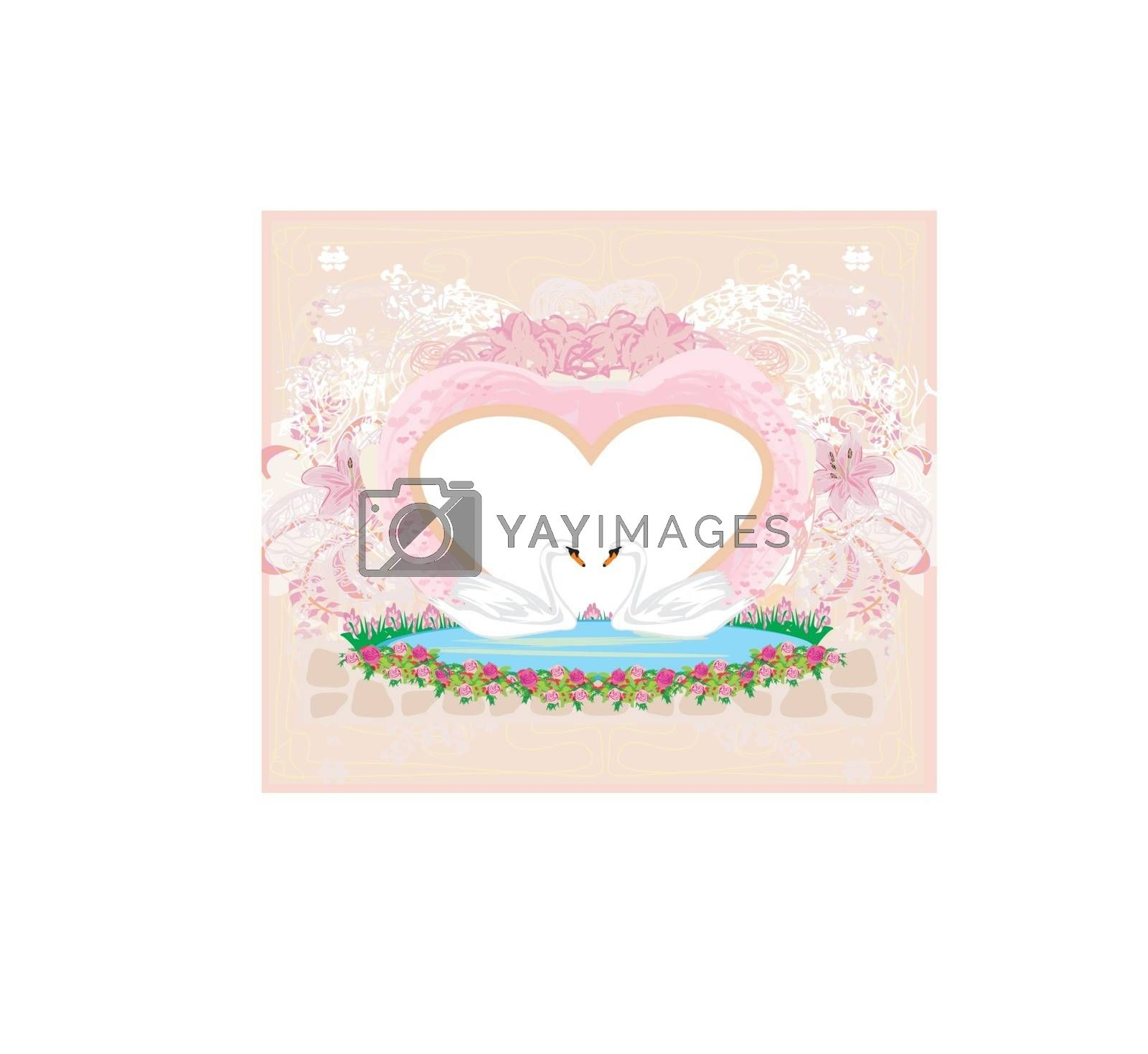 Wedding card with two romantic swans