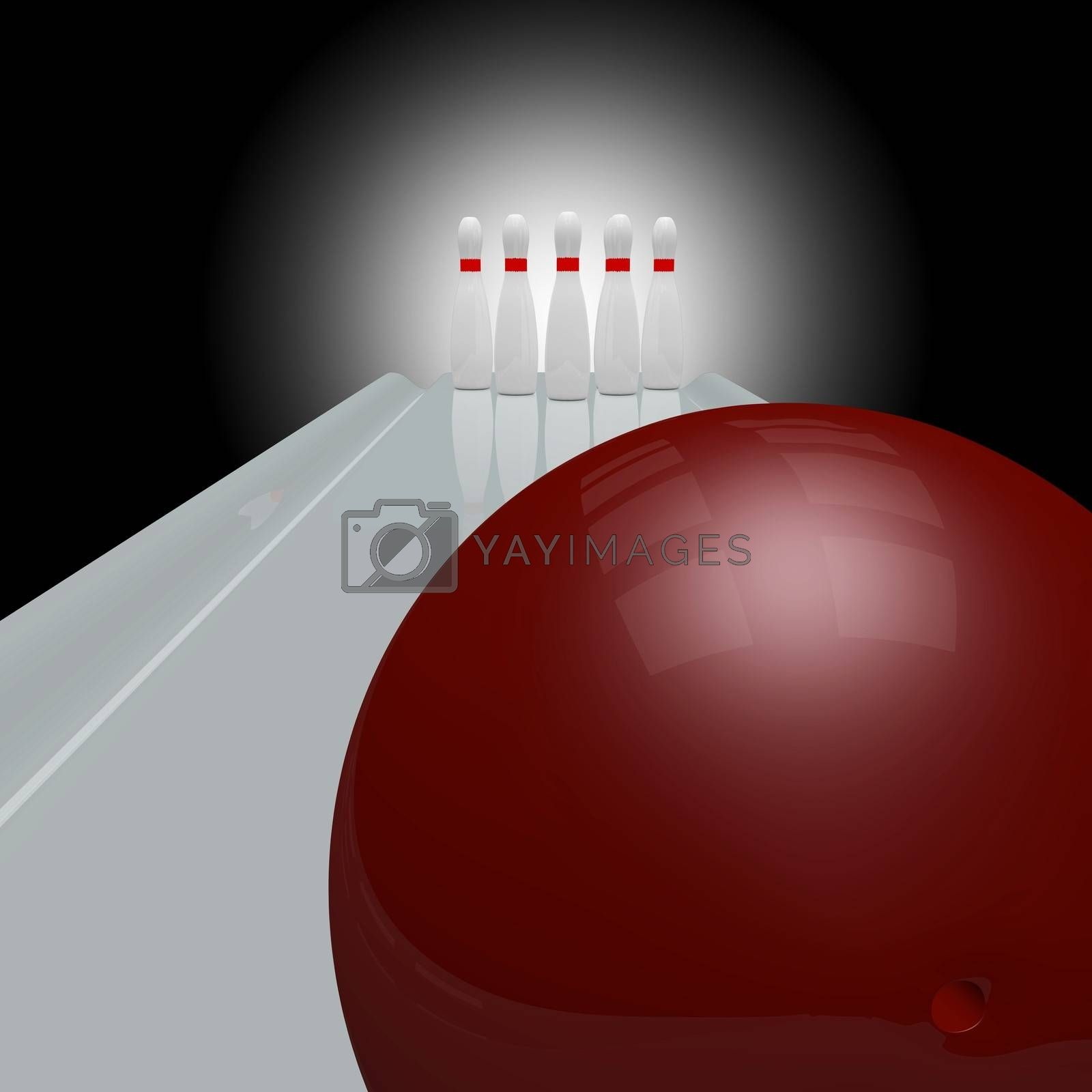 3d bowling alley scene with white bowling pins and a red ball waiting to be thrown