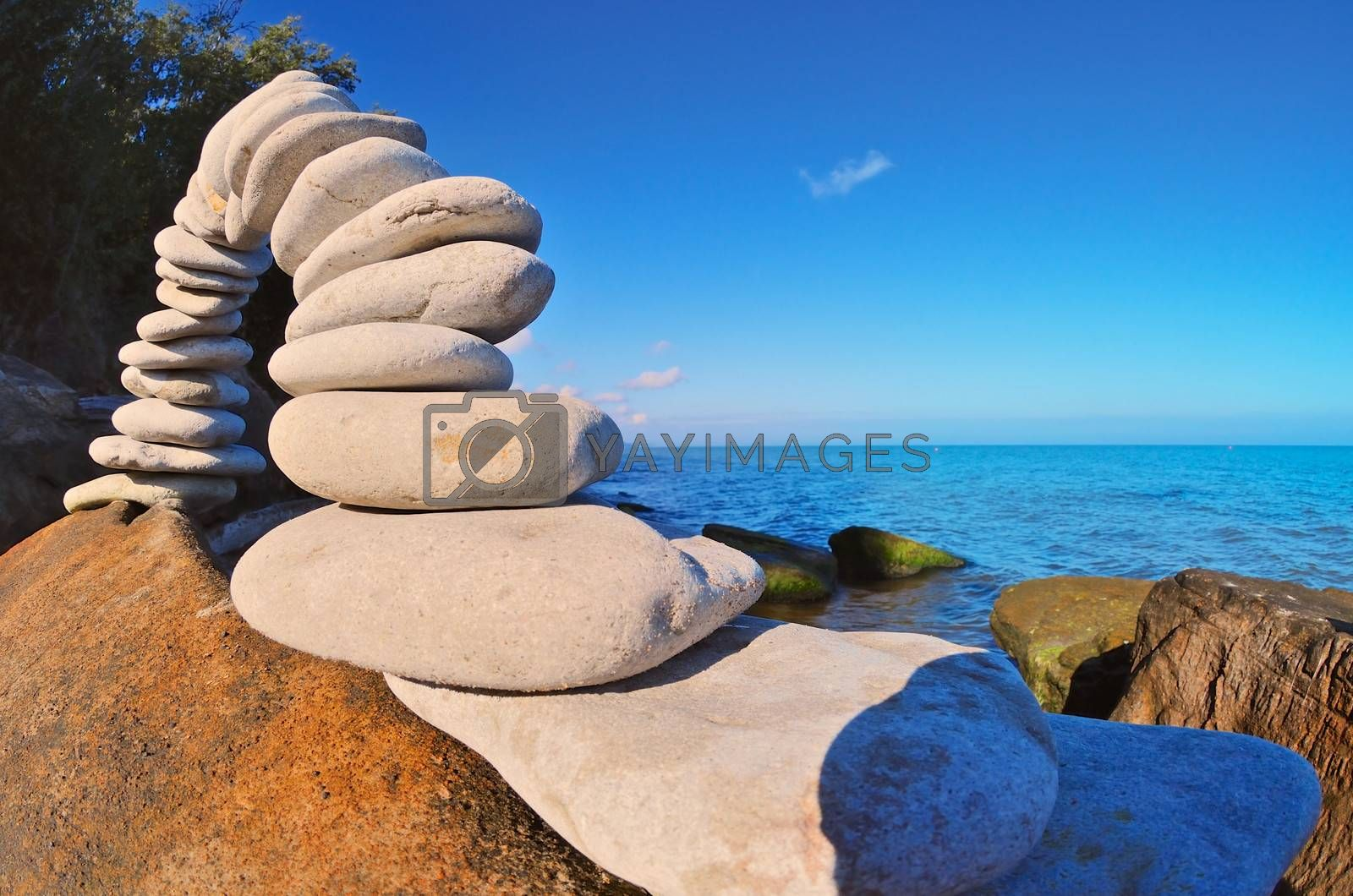 Compound of stones on the sea beach